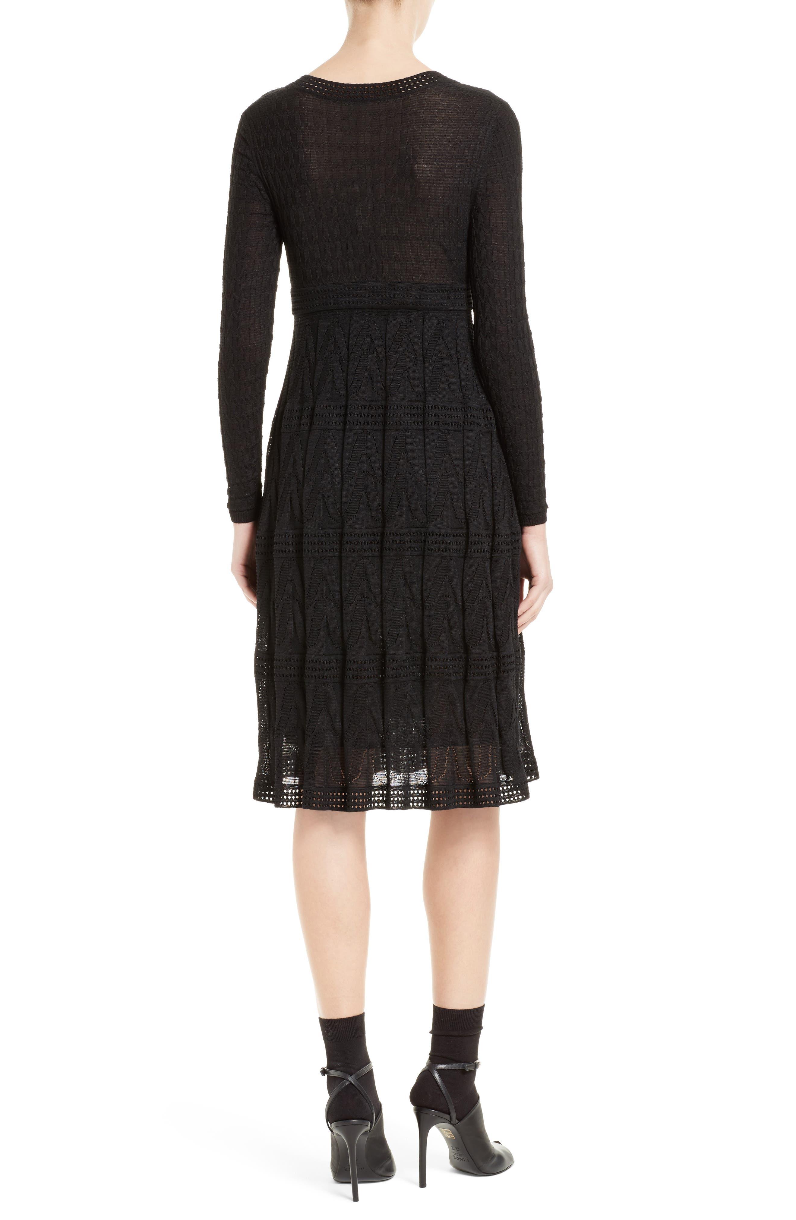 Wool Blend Empire Waist Dress,                             Alternate thumbnail 2, color,                             Black