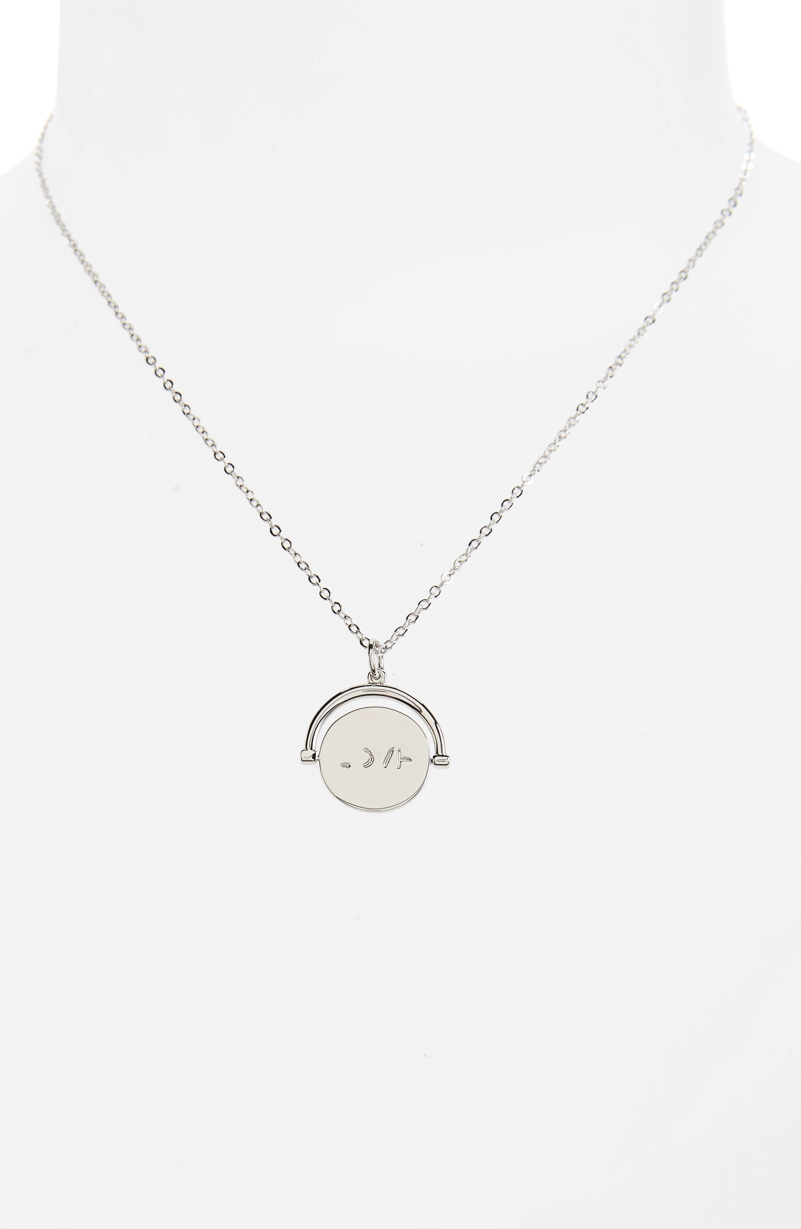 Love Love Code Charm Necklace,                             Alternate thumbnail 3, color,                             Love/ Silver