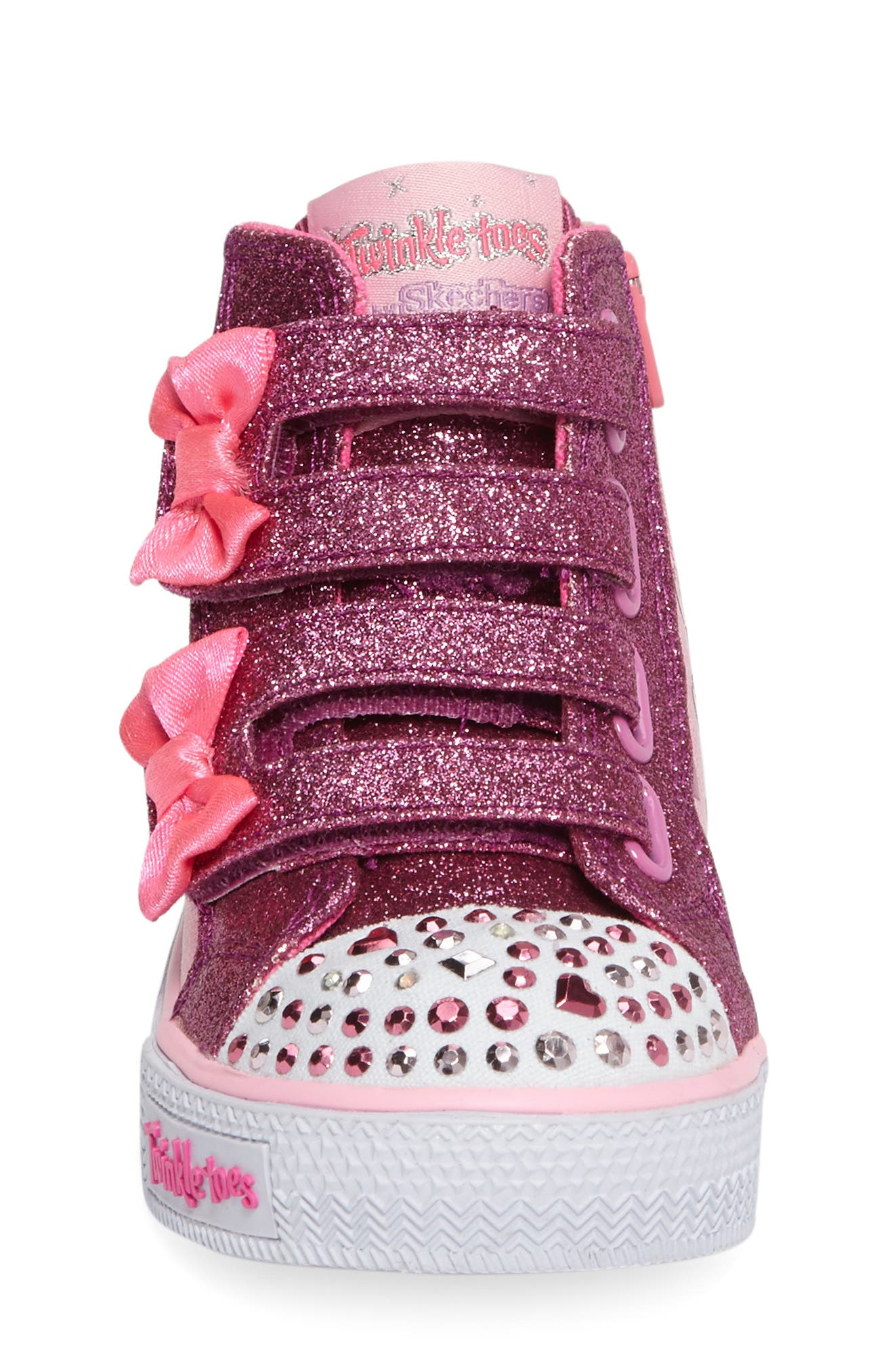 'Twinkle Toes - Shuffles' High Top Sneaker,                             Alternate thumbnail 3, color,                             Pink/ Hot Pink