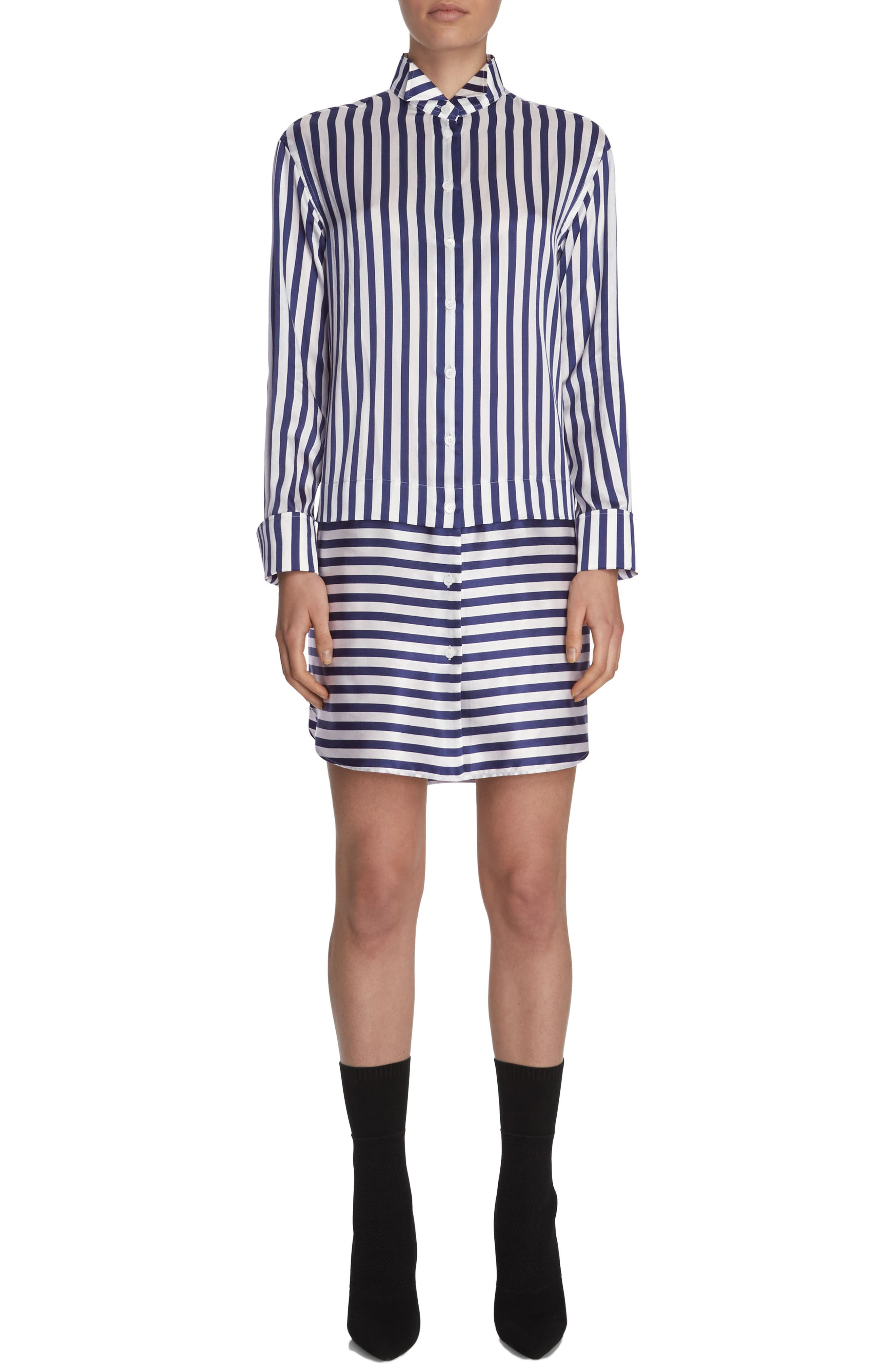 BURBERRY Stripe Silk & Cotton Shirtdress