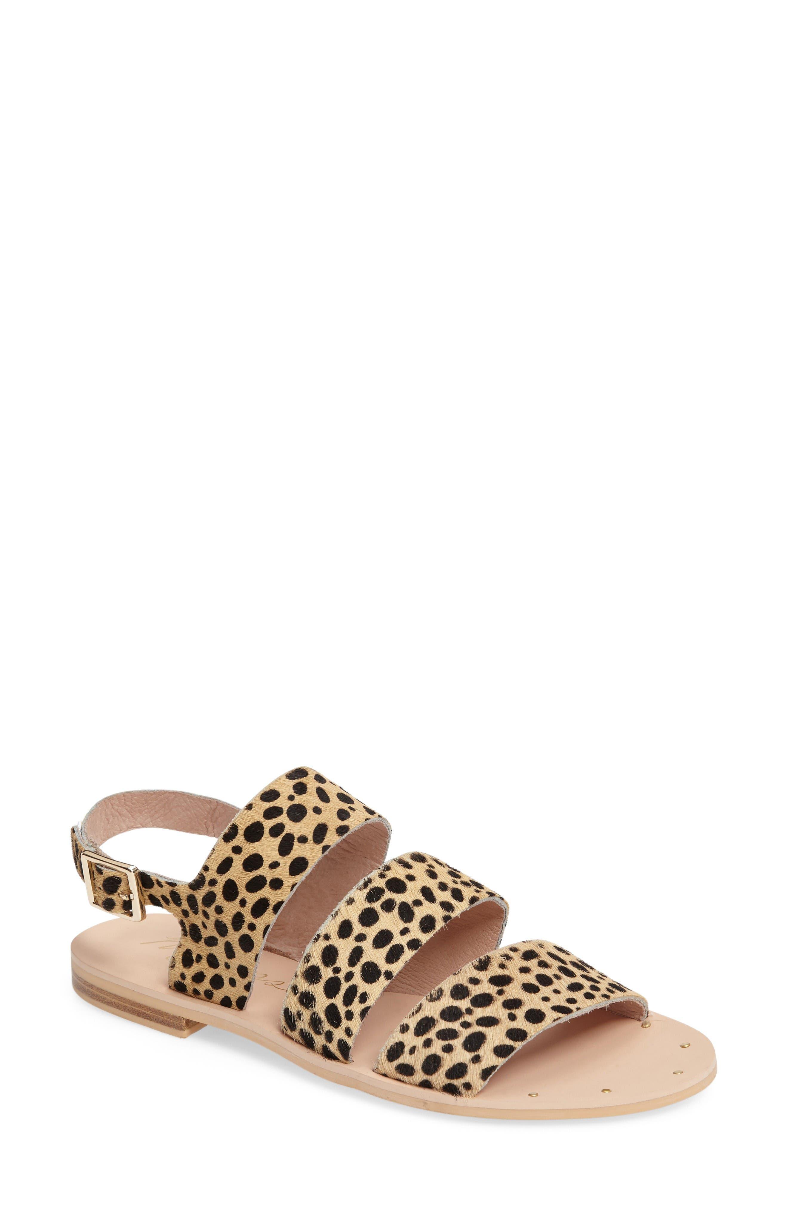 Owen Genuine Calf Hair Sandal,                             Main thumbnail 1, color,                             Leopard Calf Hair