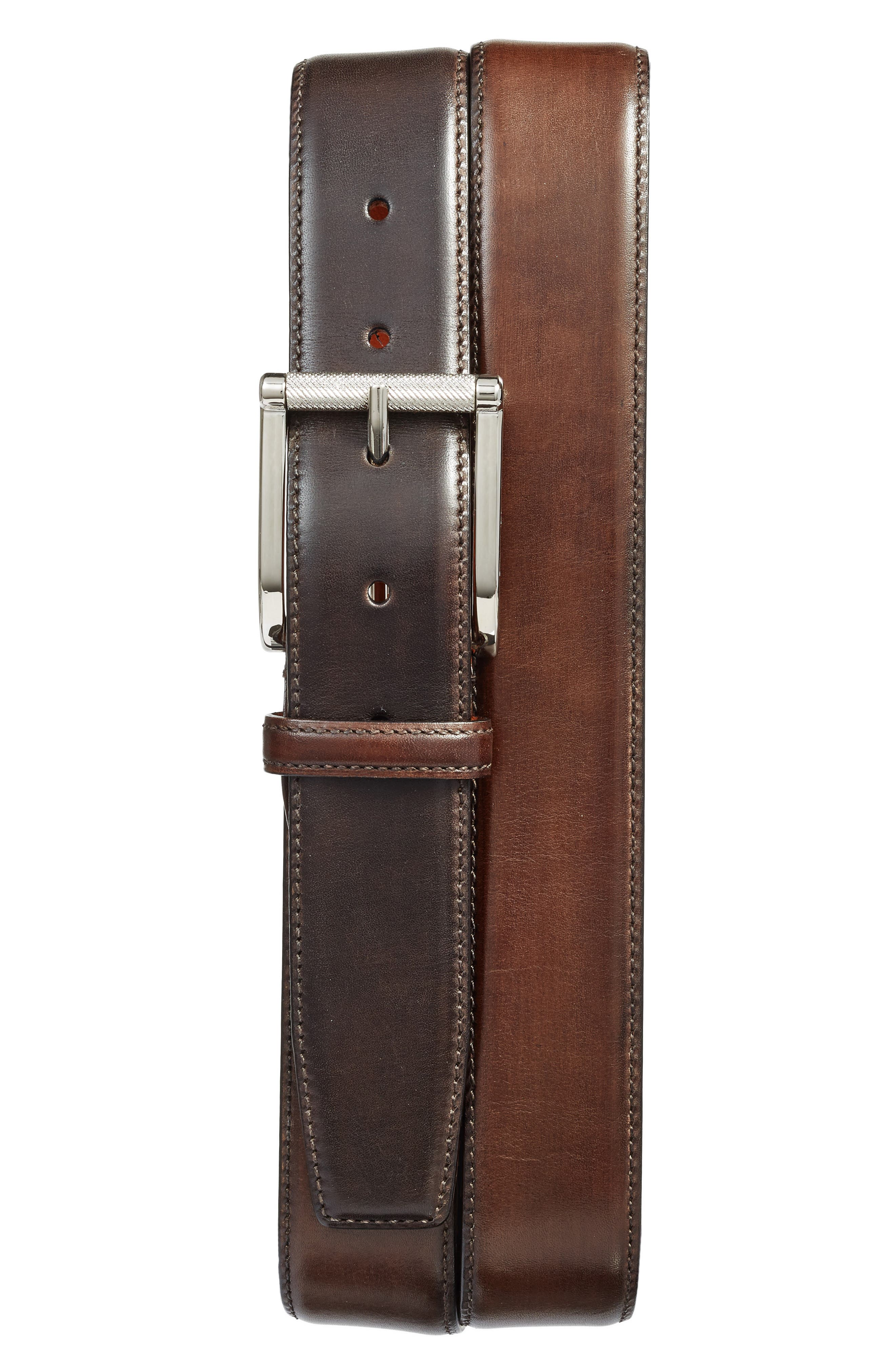Alternate Image 1 Selected - Santoni Hand Antiqued Leather Belt