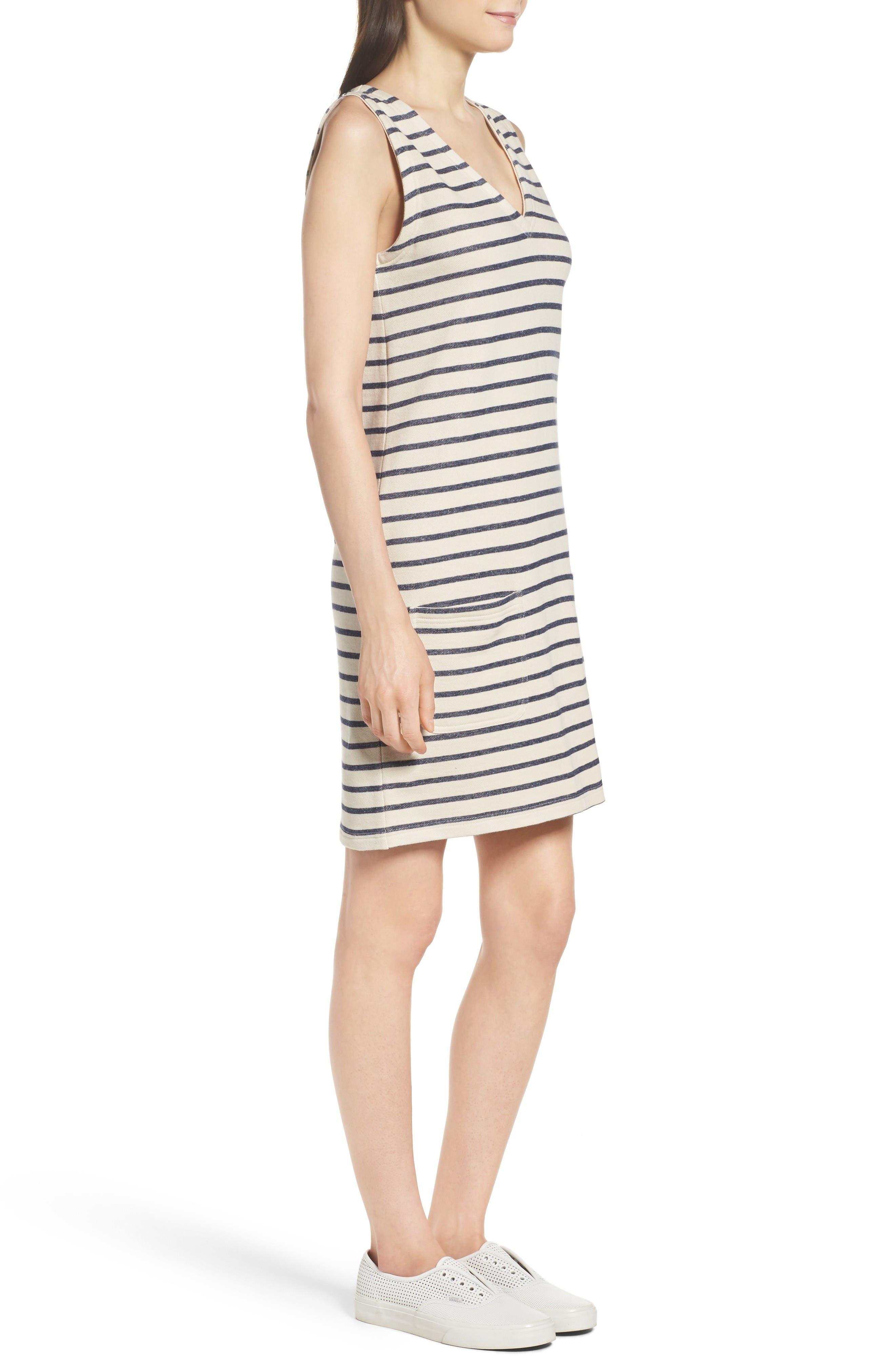 Normandy Stripe Dress,                             Alternate thumbnail 3, color,                             Brule/ Indigo