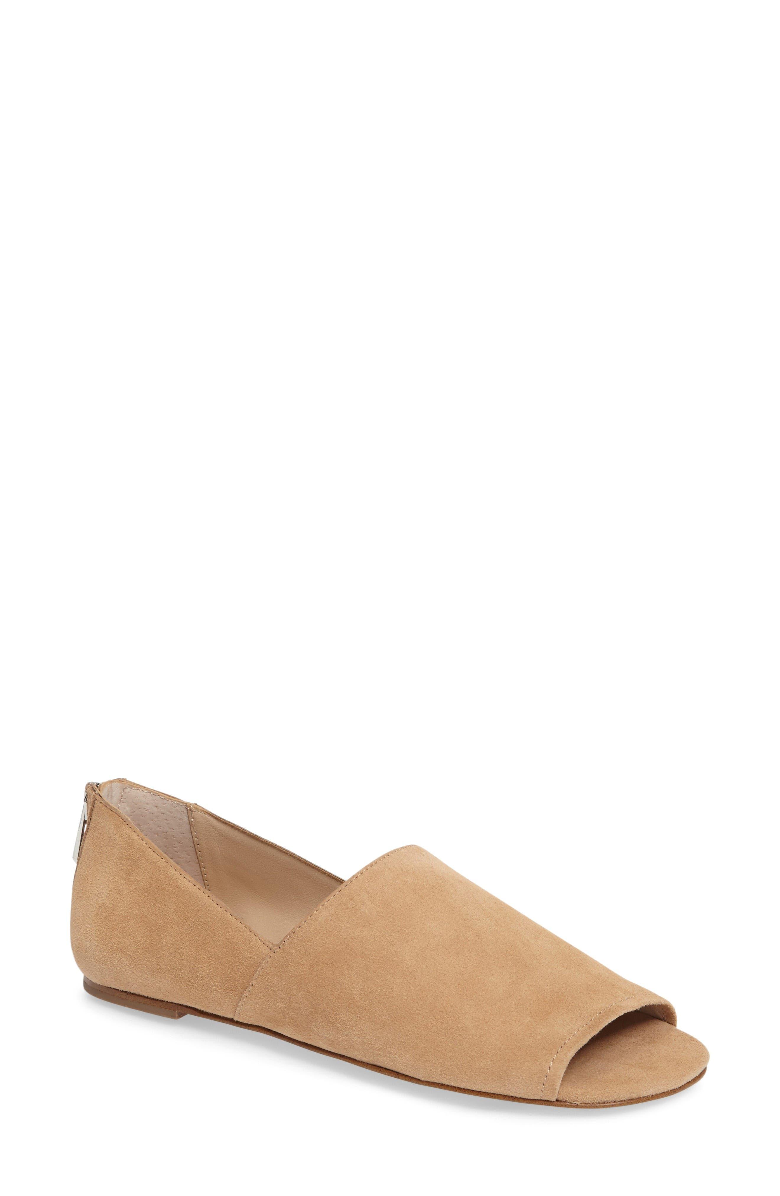 Maxine Peep Toe Flat,                         Main,                         color, Natural