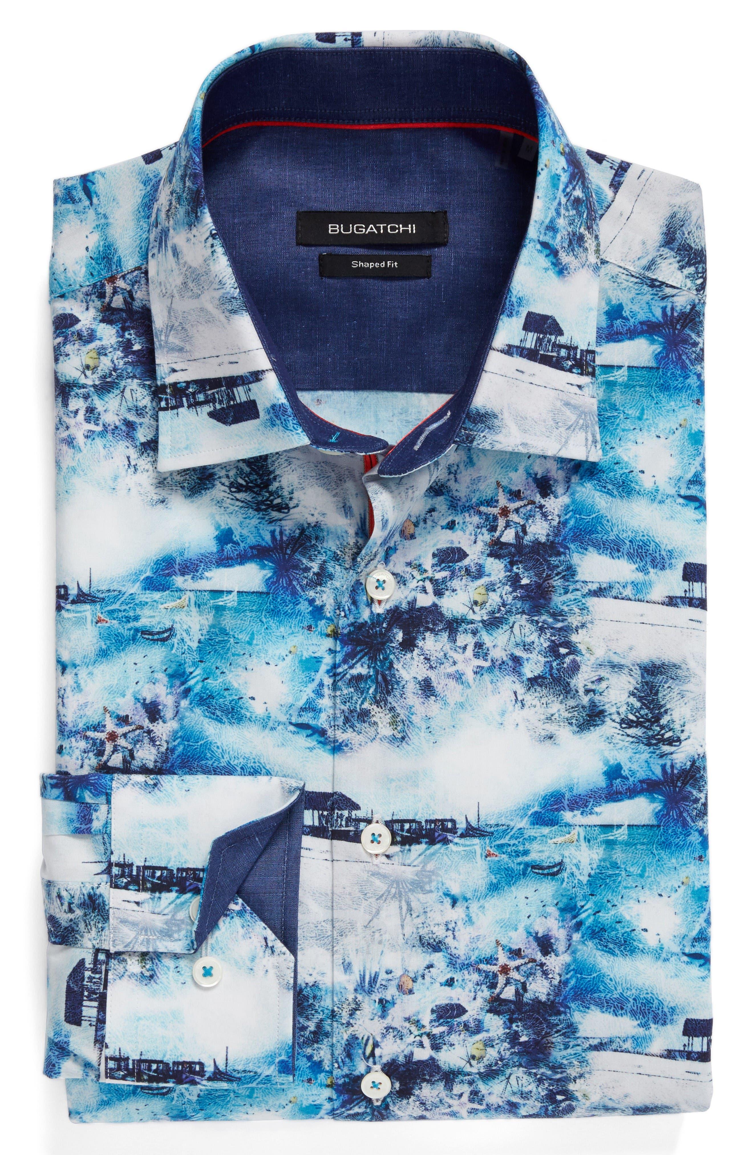 Shaped Fit Ocean Print Sport Shirt,                             Alternate thumbnail 6, color,                             Turquoise