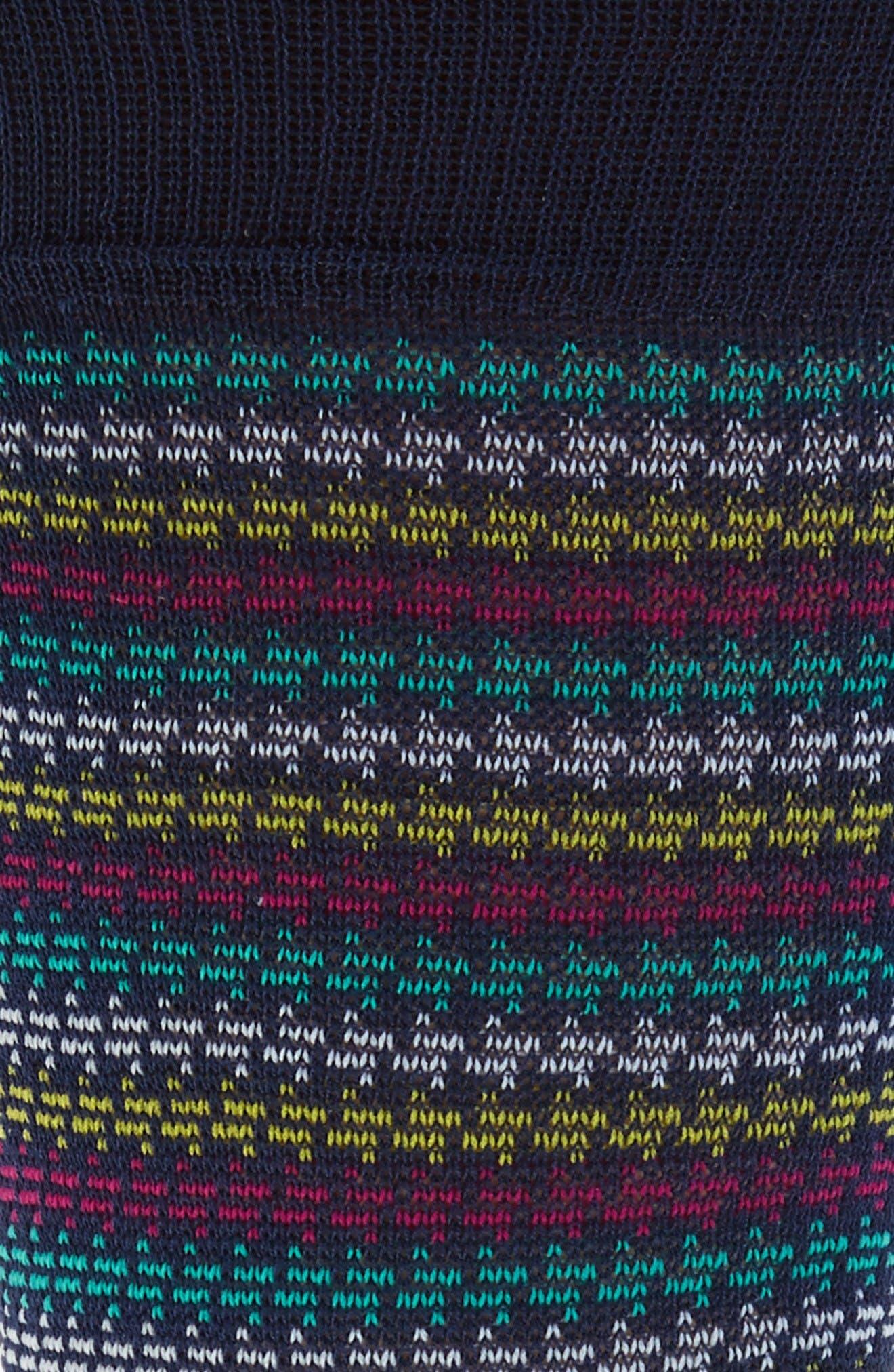 Houndstooth Stripe Crew Socks,                             Alternate thumbnail 2, color,                             Navy/ Teal
