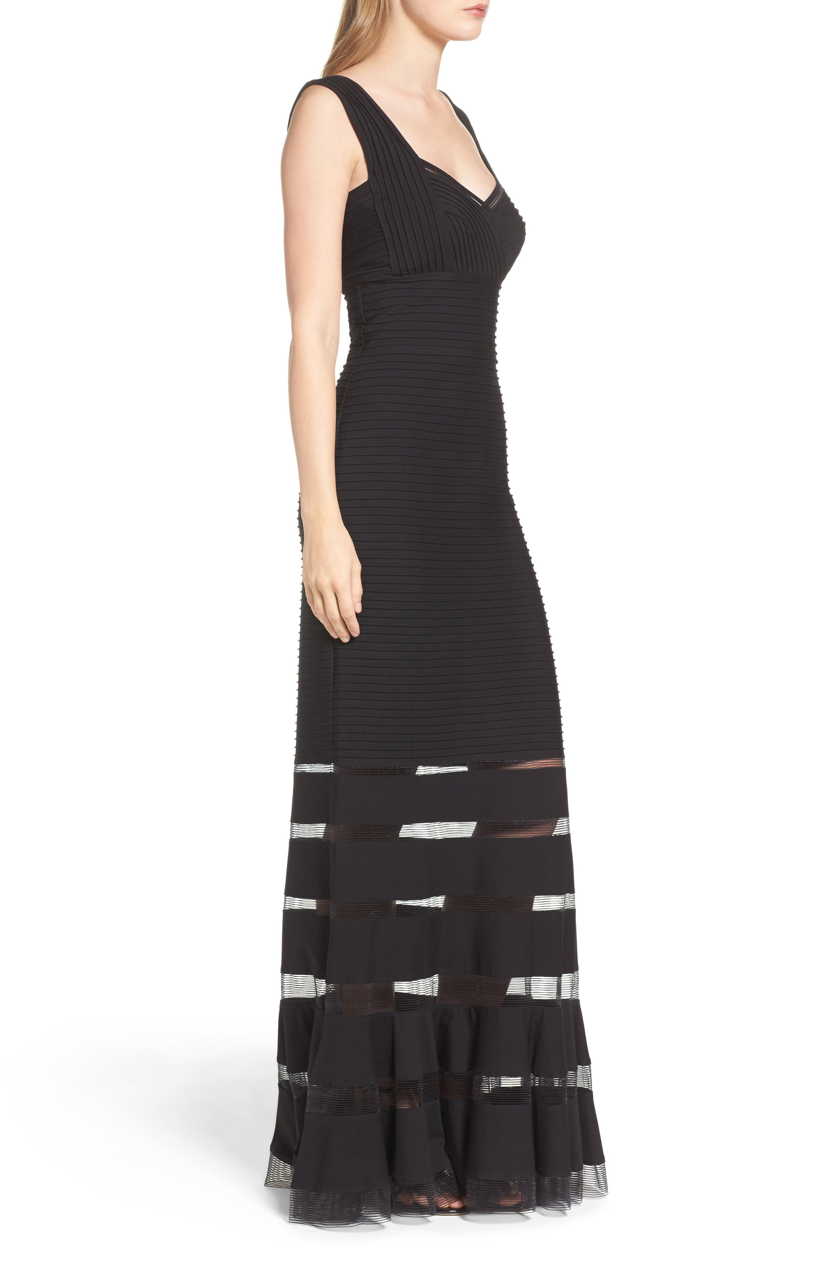 Mesh Inset Gown,                             Alternate thumbnail 3, color,                             Black