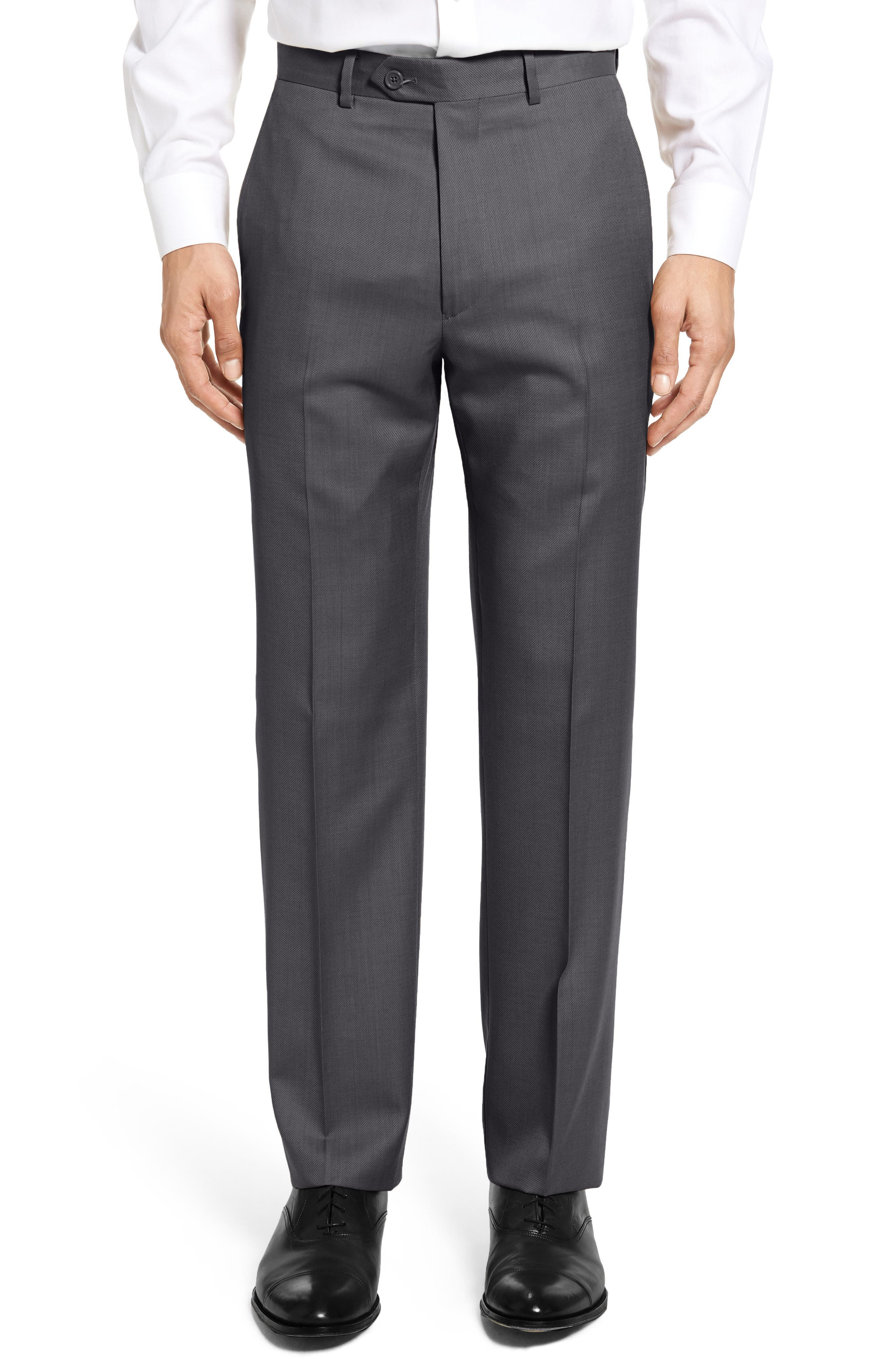 SANTORELLI Flat Front Twill Wool Trousers in Charcoal