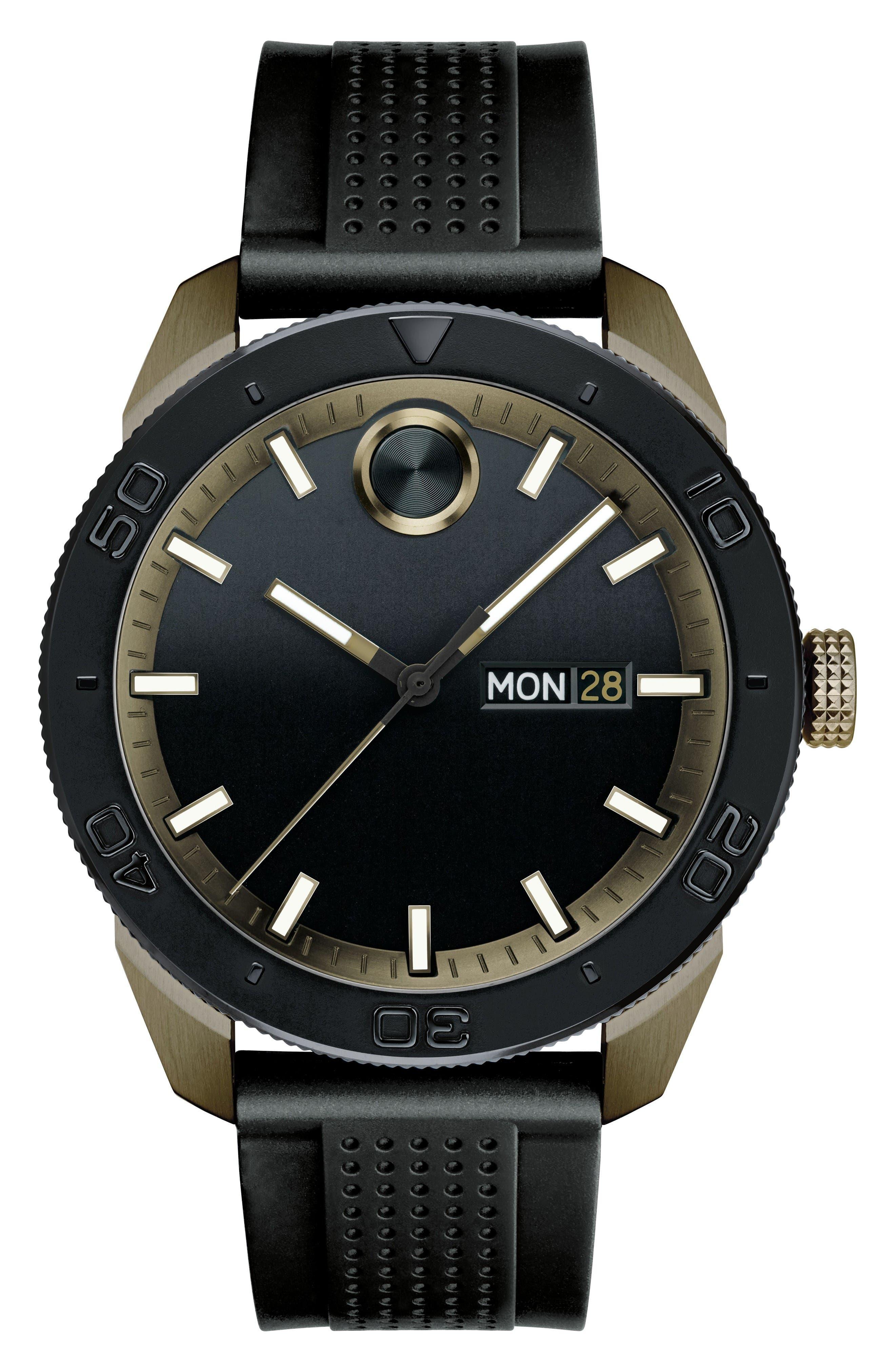 Movado Bold Sport Silicone Strap Watch, 43mm