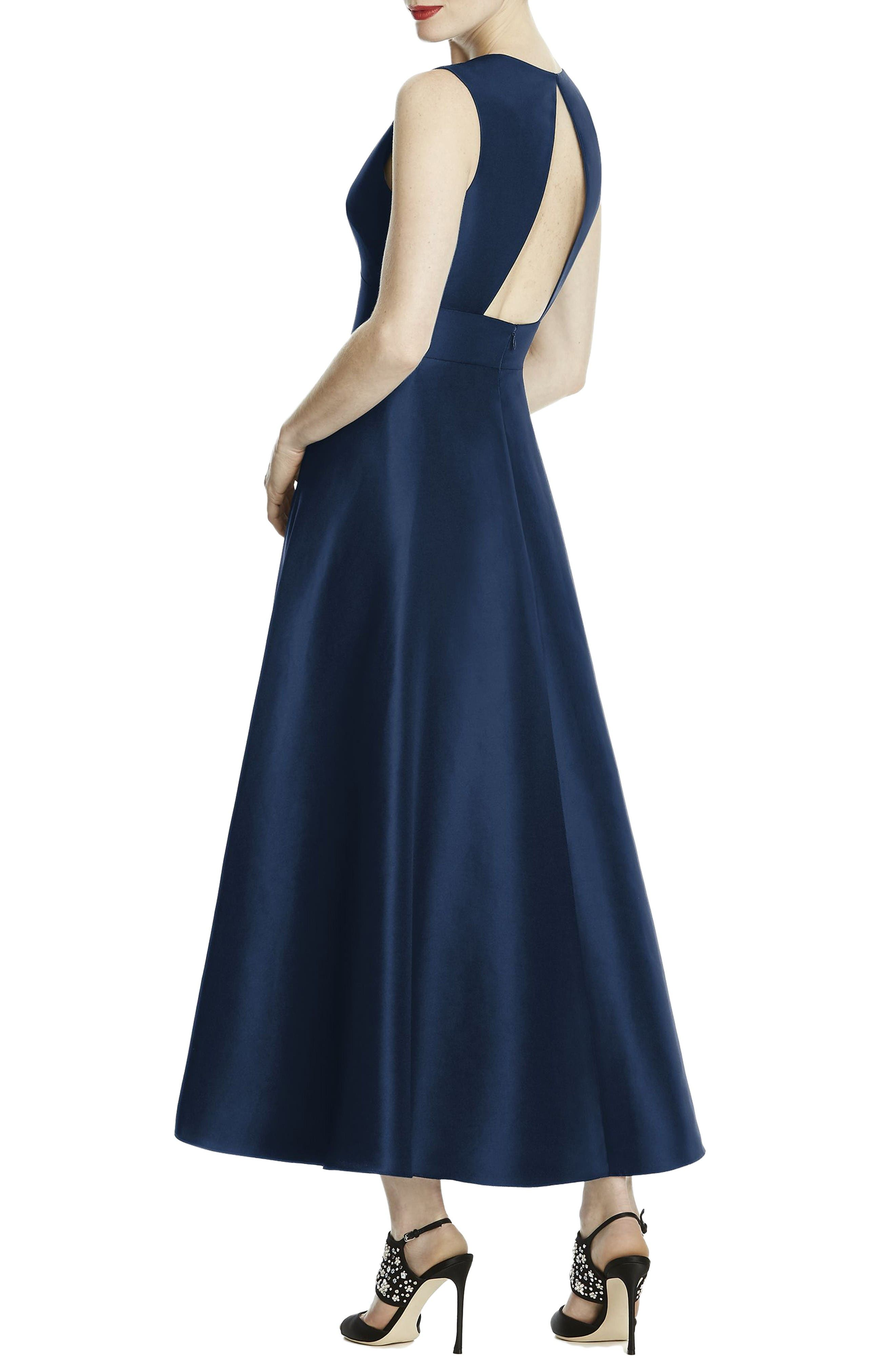 Mikado High/Low Midi Gown,                             Alternate thumbnail 2, color,                             Midnight