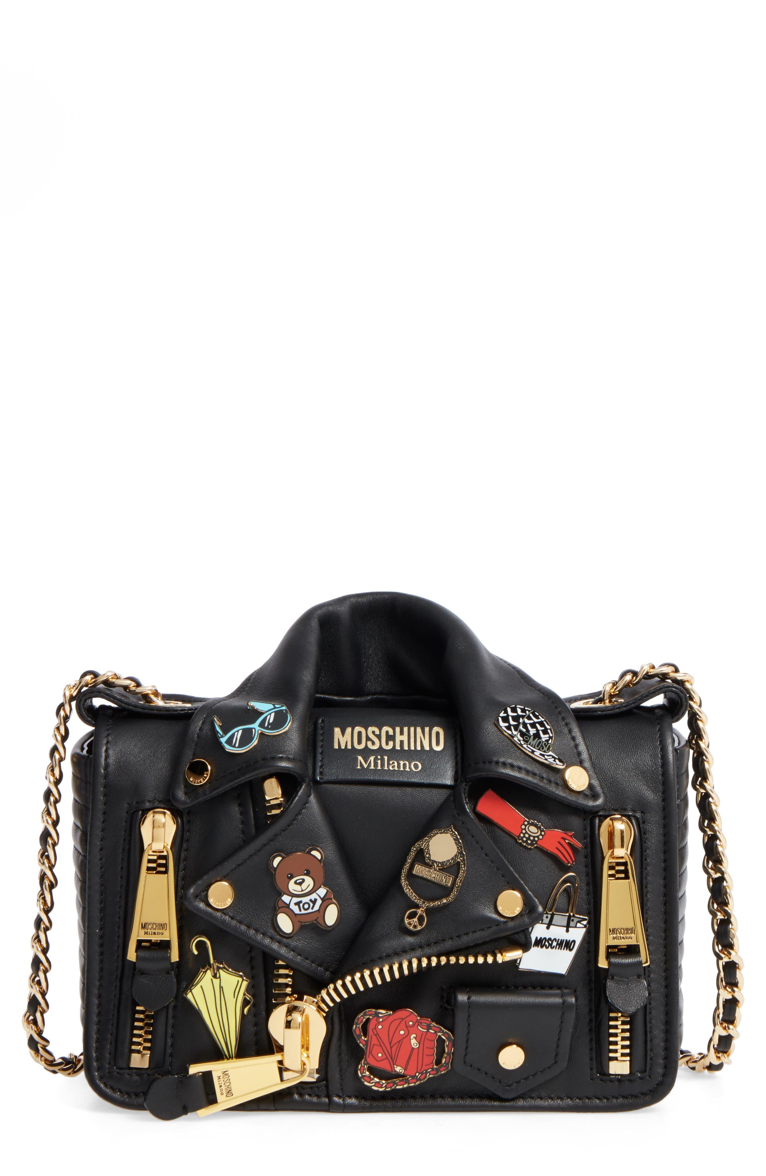 Main Image - Moschino Biker Jacket Shoulder Bag