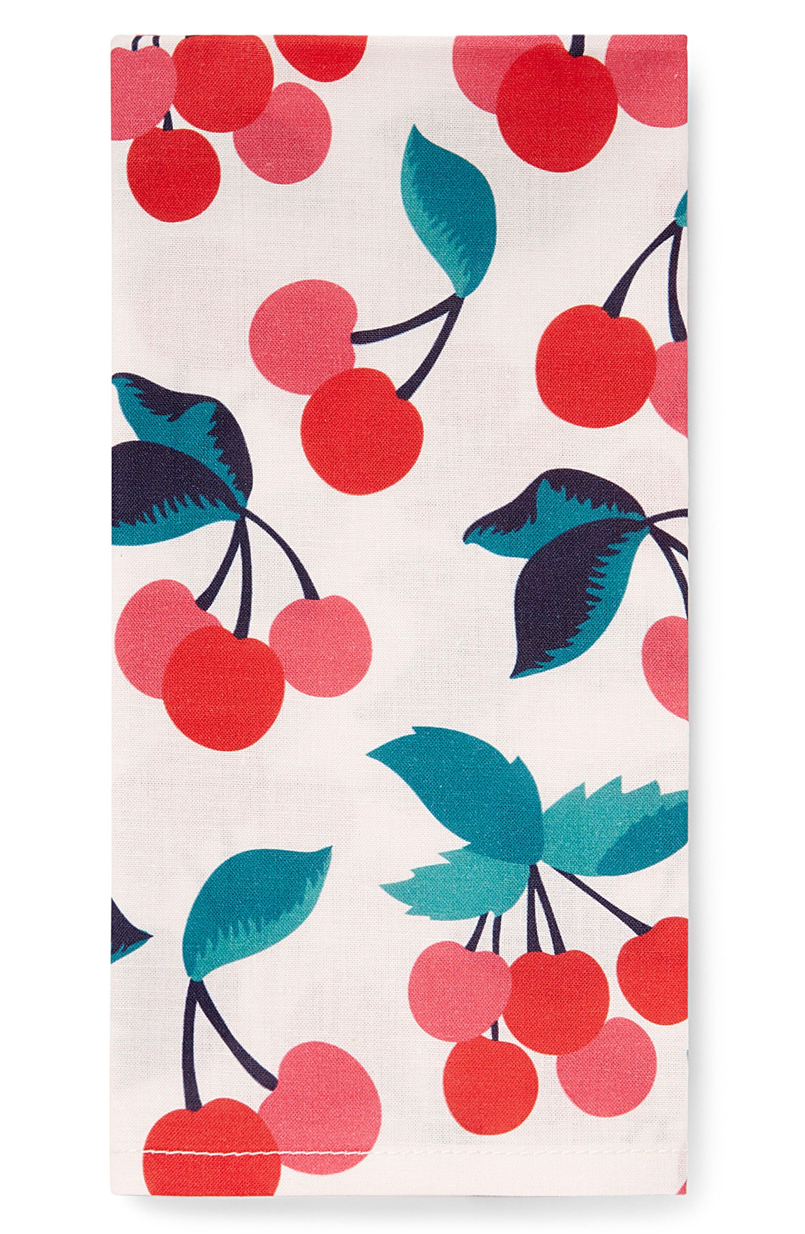 Set of 4 Cherry Print Cloth Napkins,                         Main,                         color, Cherry