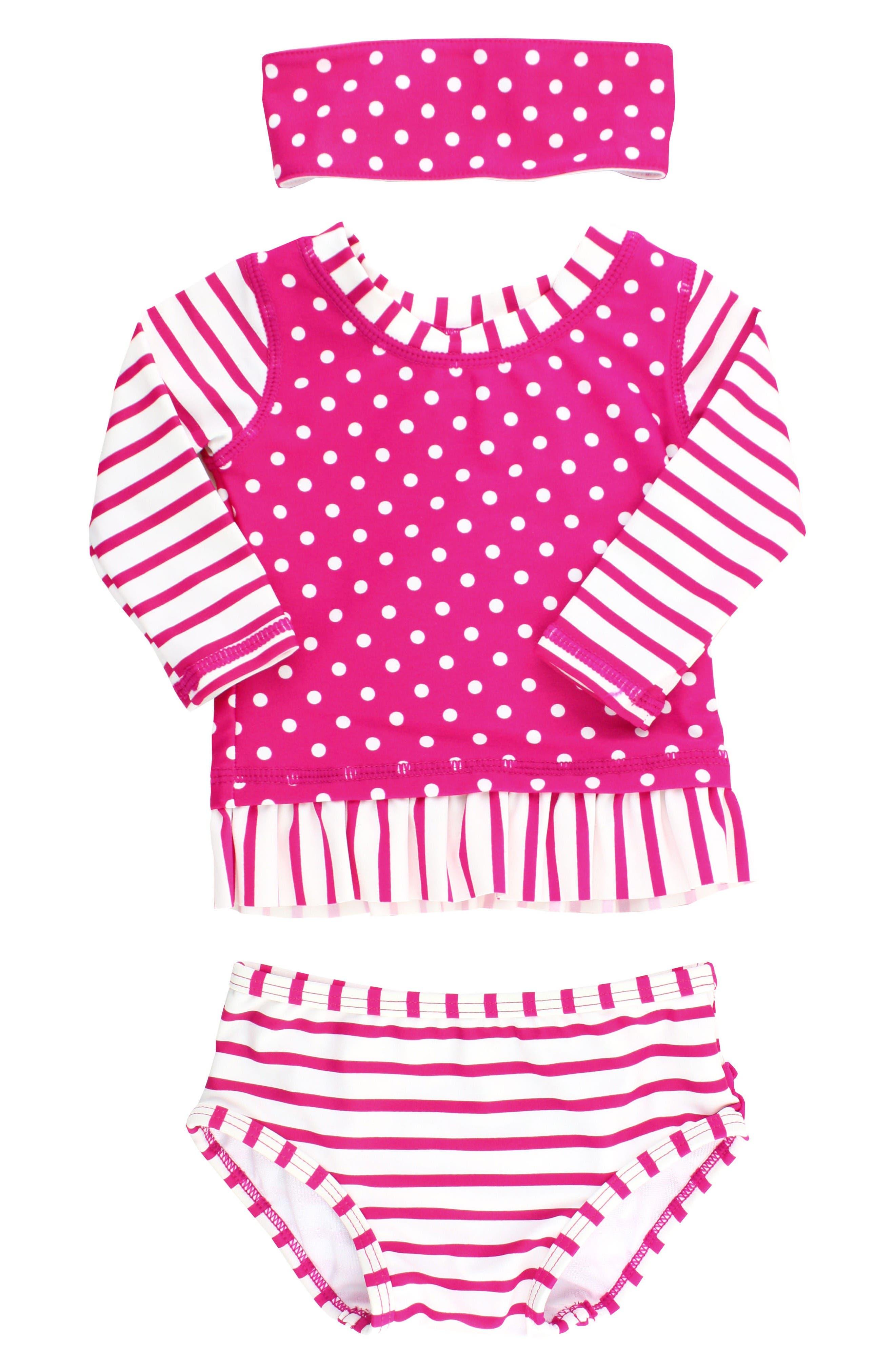 Alternate Image 1 Selected - RuffleButts Two-Piece Rashguard Swimsuit & Head Wrap Set (Baby Girls)