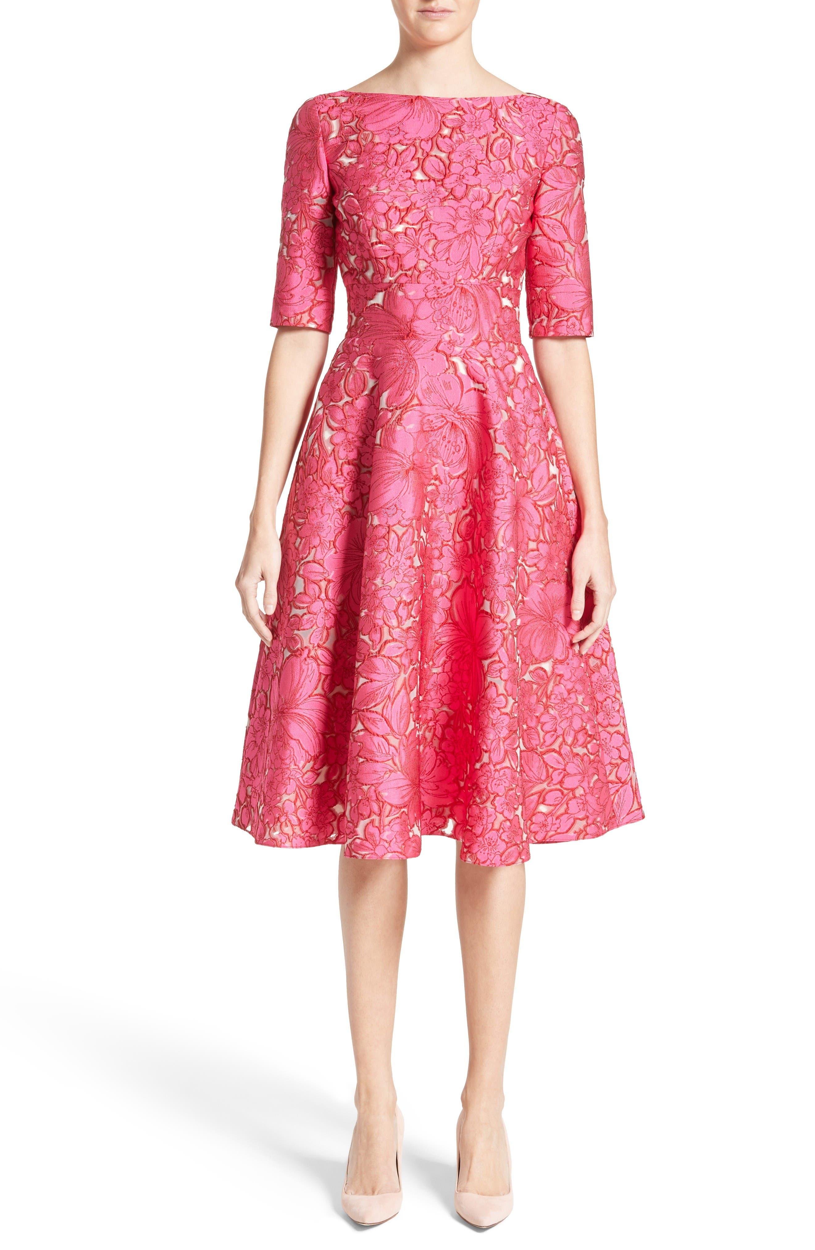Lela Rose Floral Fil Coupé Fit & Flare Dress