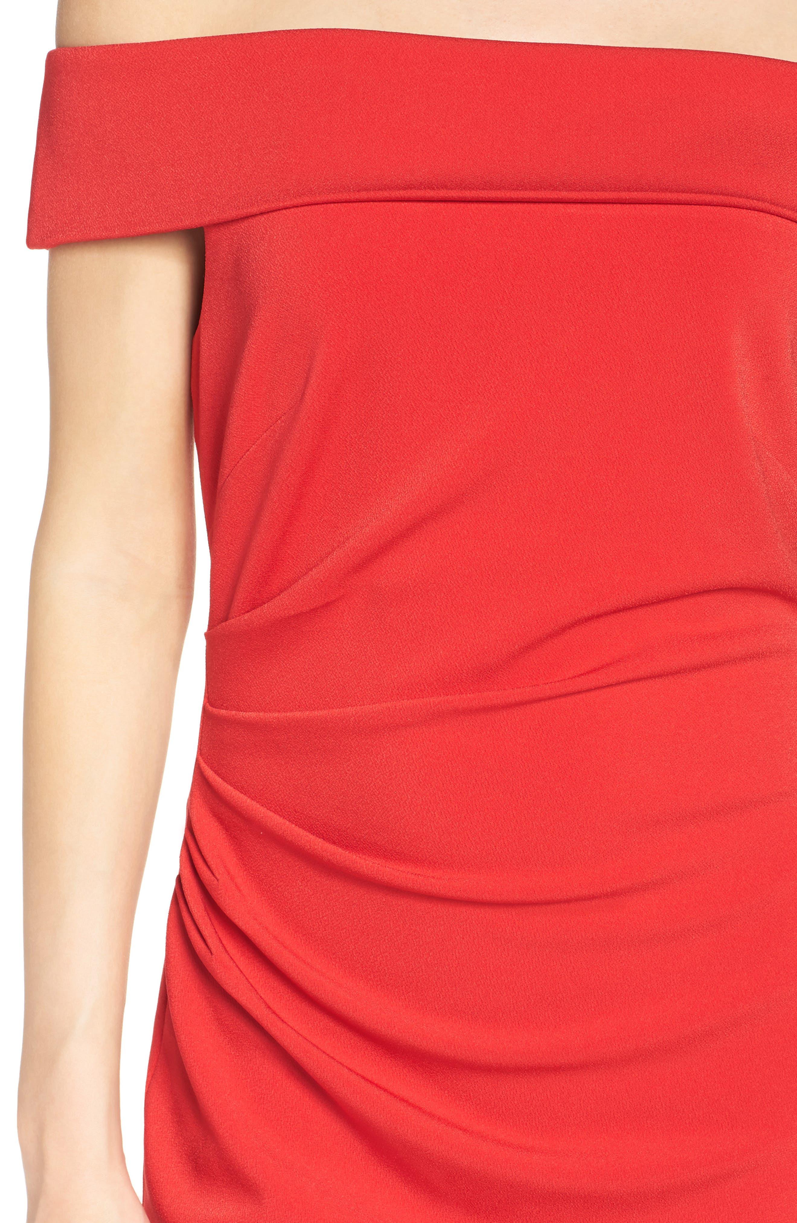 Off the Shoulder Crepe Sheath Dress,                             Alternate thumbnail 5, color,                             Red