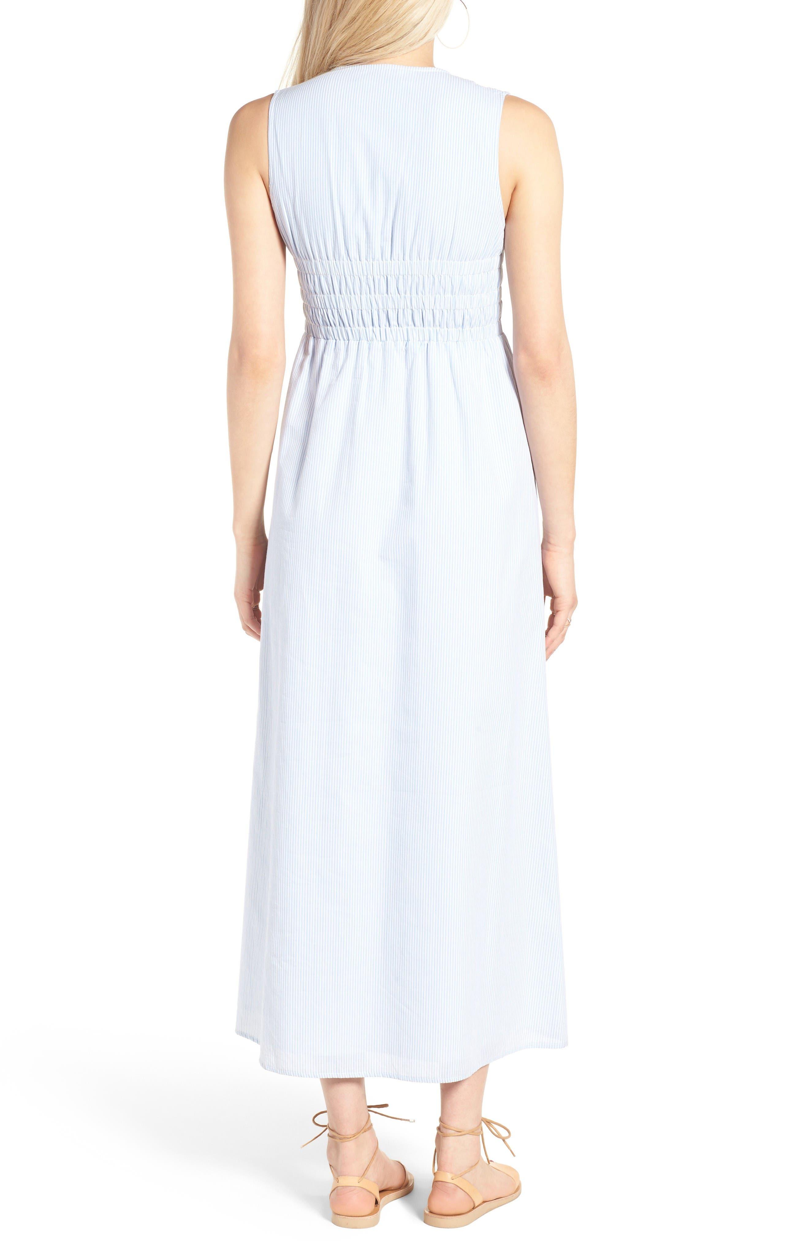 Stripe Lace-Up Maxi Dress,                             Alternate thumbnail 3, color,                             Light Blue
