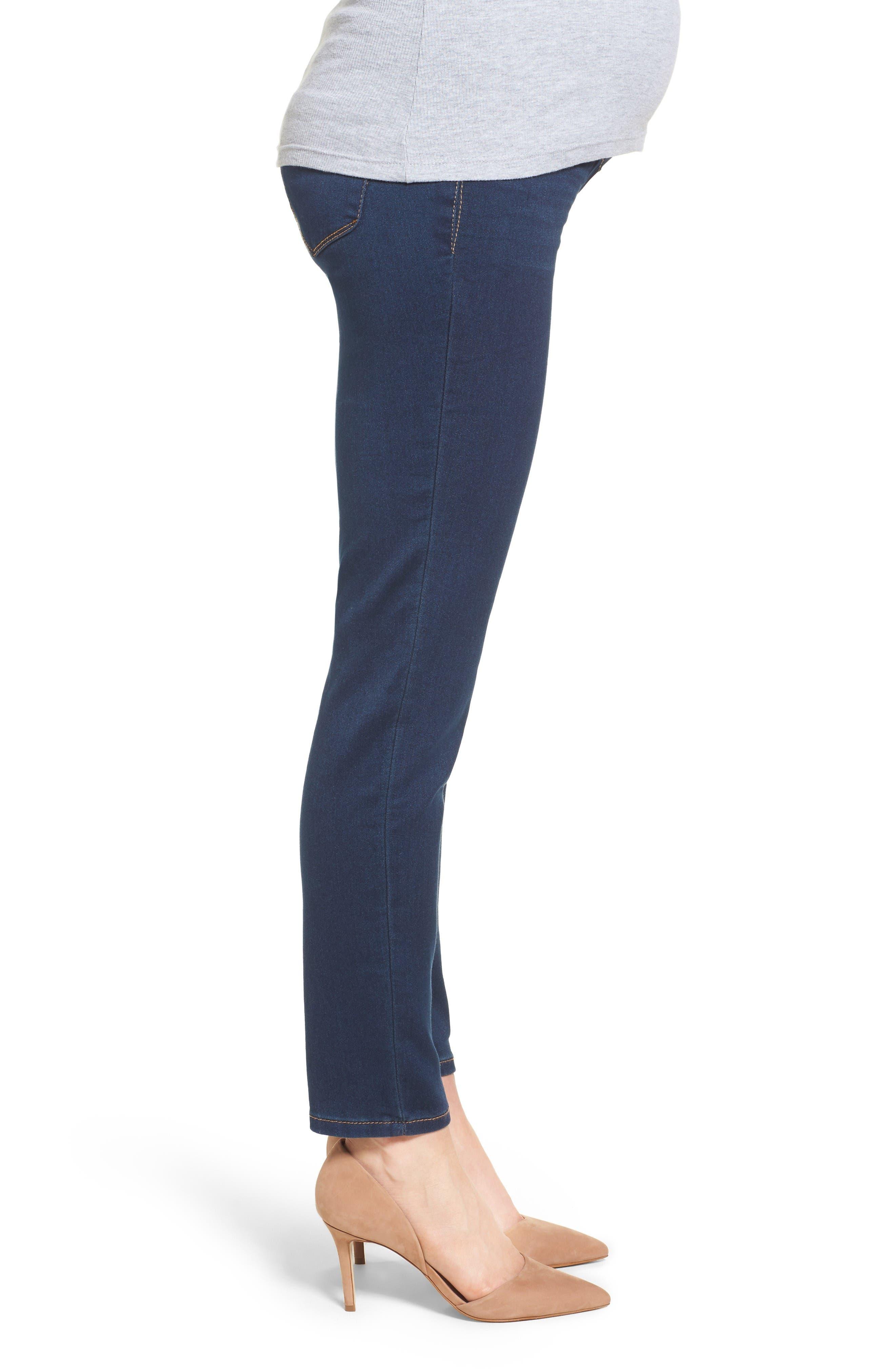 Alternate Image 3  - 1822 Denim Butter Maternity Skinny Jeans (Midnight)