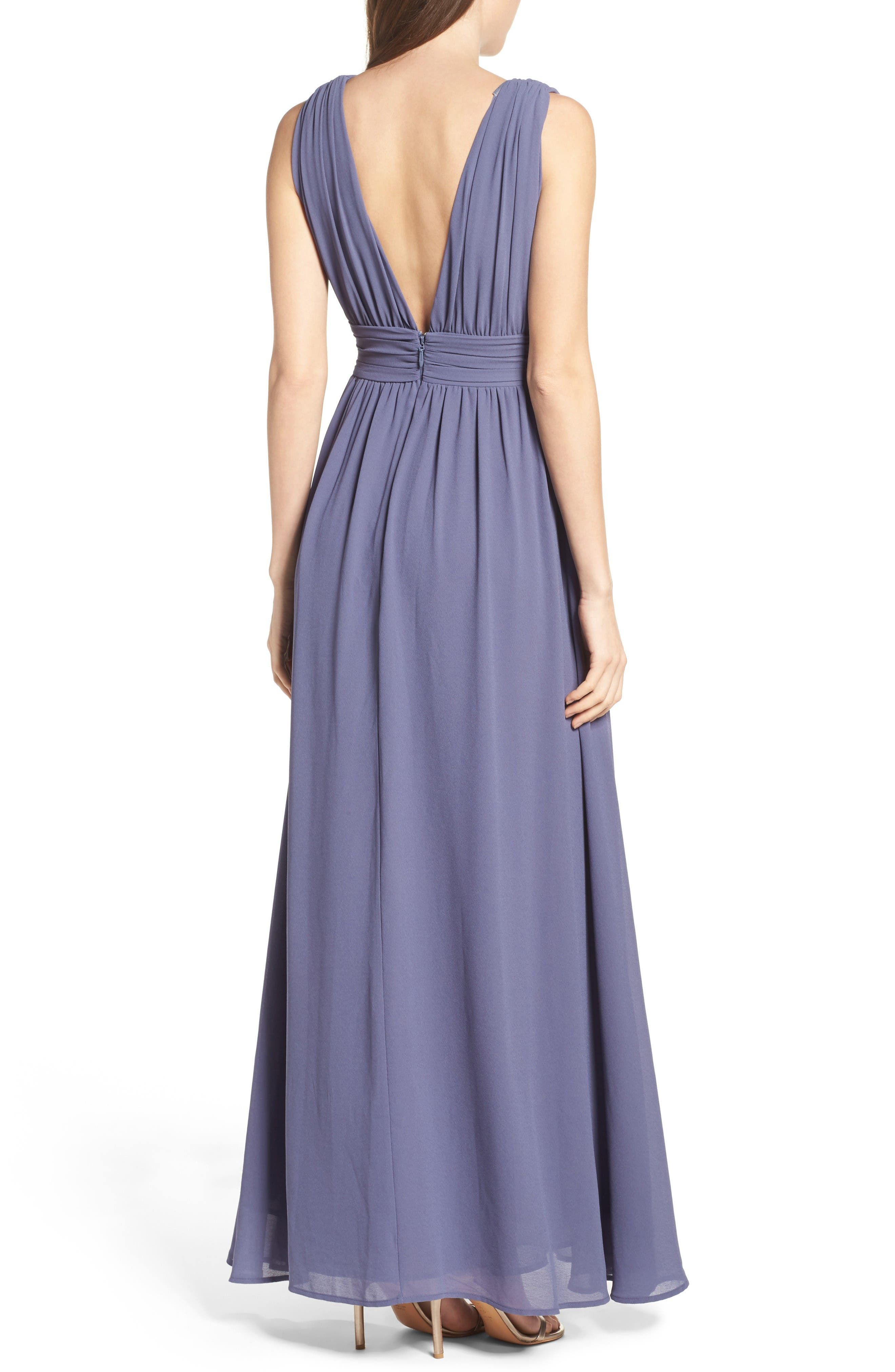 Alternate Image 2  - Lulus Plunging V-Neck Chiffon Gown
