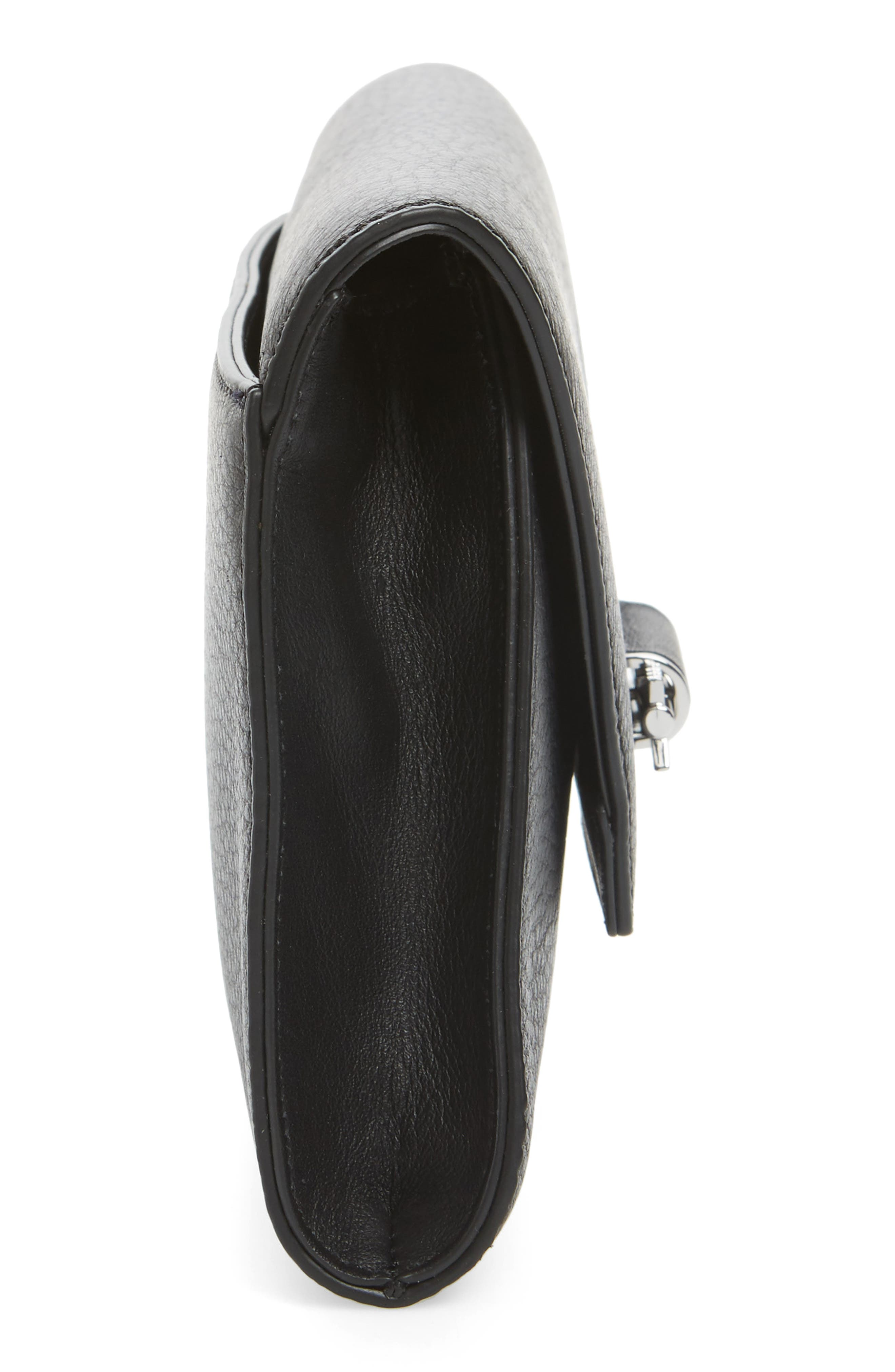 Flex Leather Envelope Clutch,                             Alternate thumbnail 5, color,                             Black