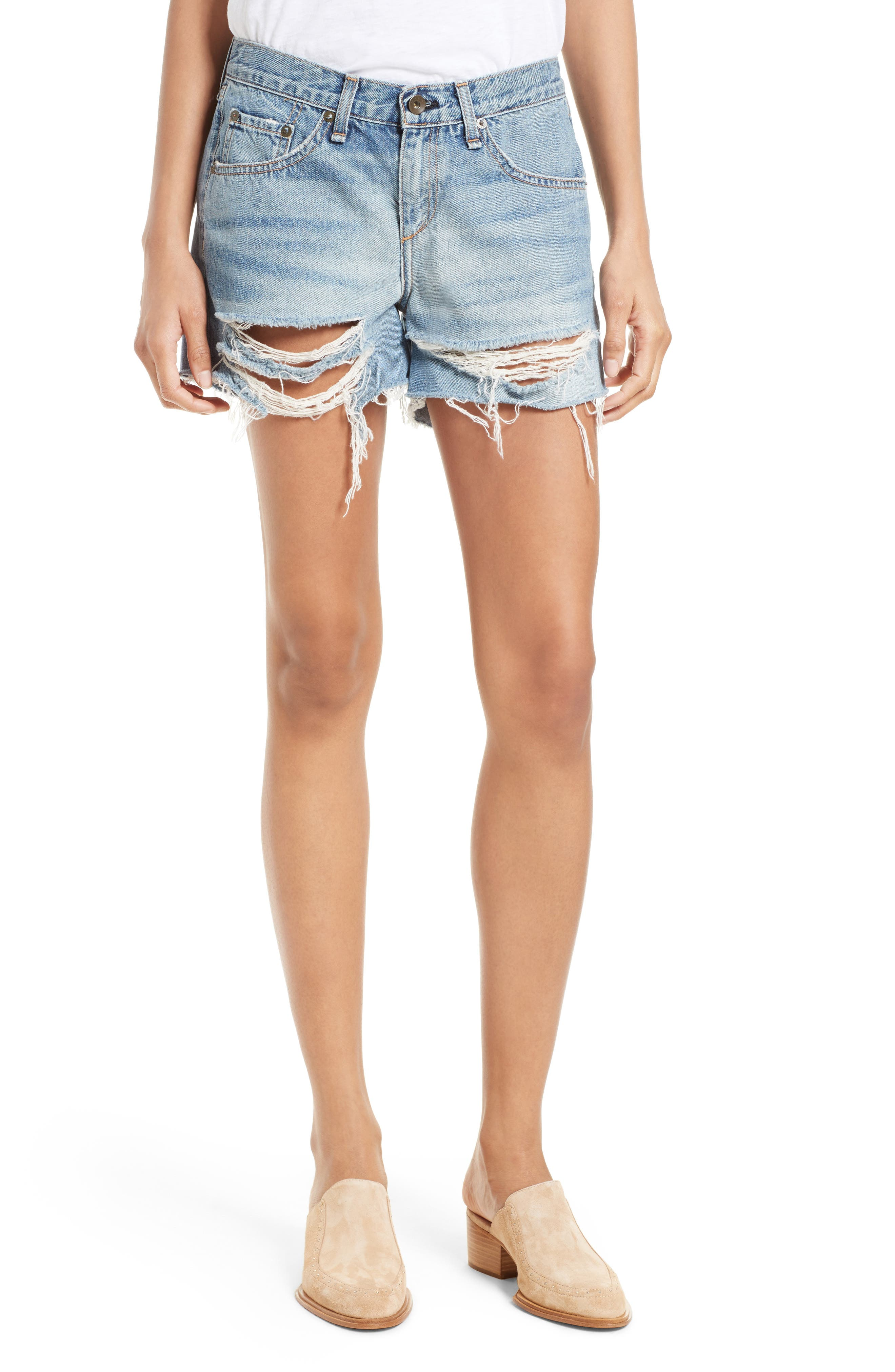 Ripped Boyfriend Shorts,                         Main,                         color, Rye