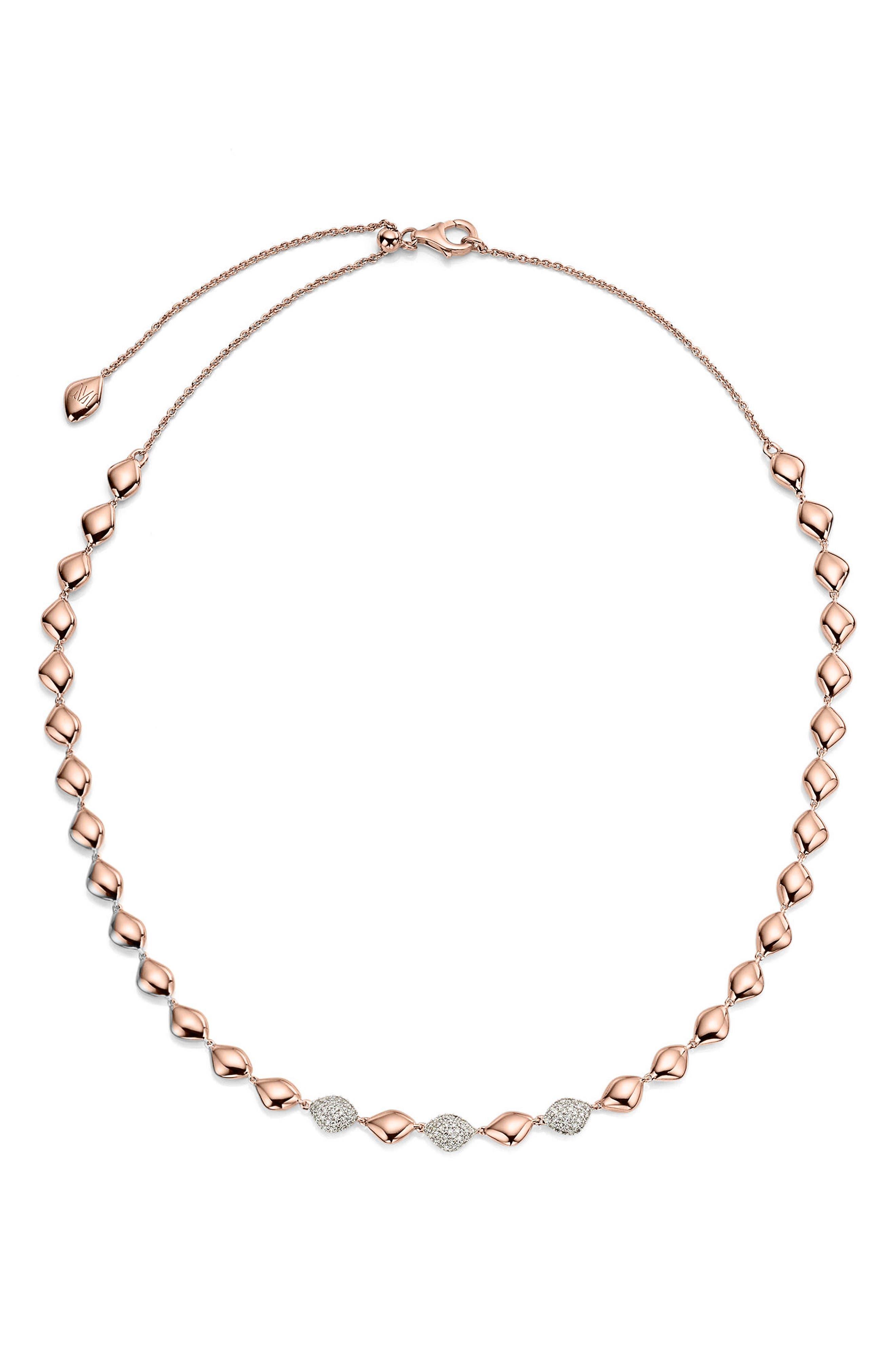 Nura Diamond Collar Necklace,                             Main thumbnail 1, color,                             Rose Gold/ Diamond