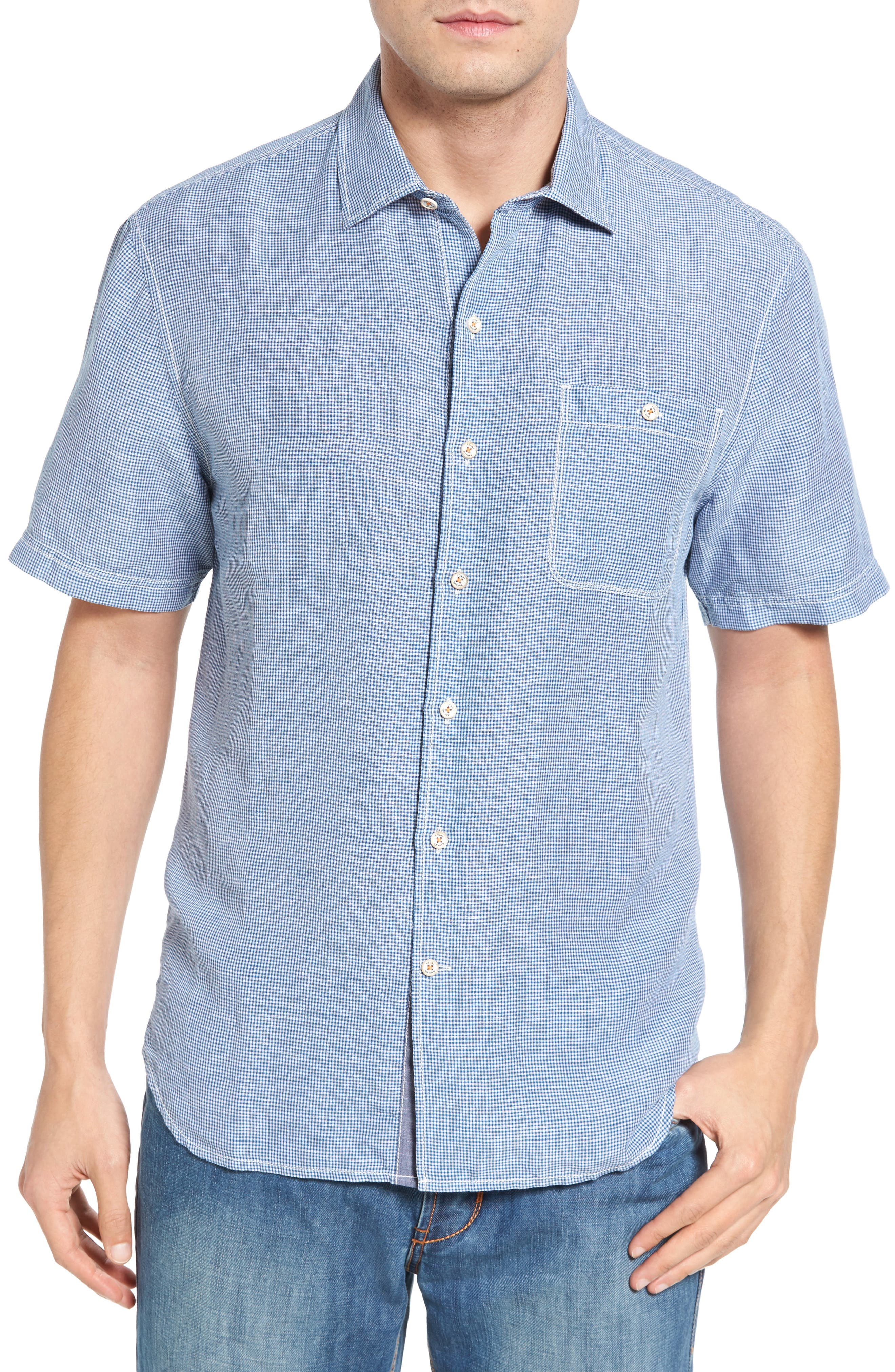 Tommy Bahama Sand Standard Fit Check Linen Blend Sport Shirt