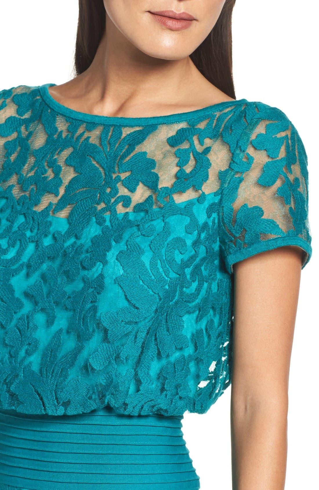 Embroidered Blouson Sheath Dress,                             Alternate thumbnail 5, color,                             Aqua Blue