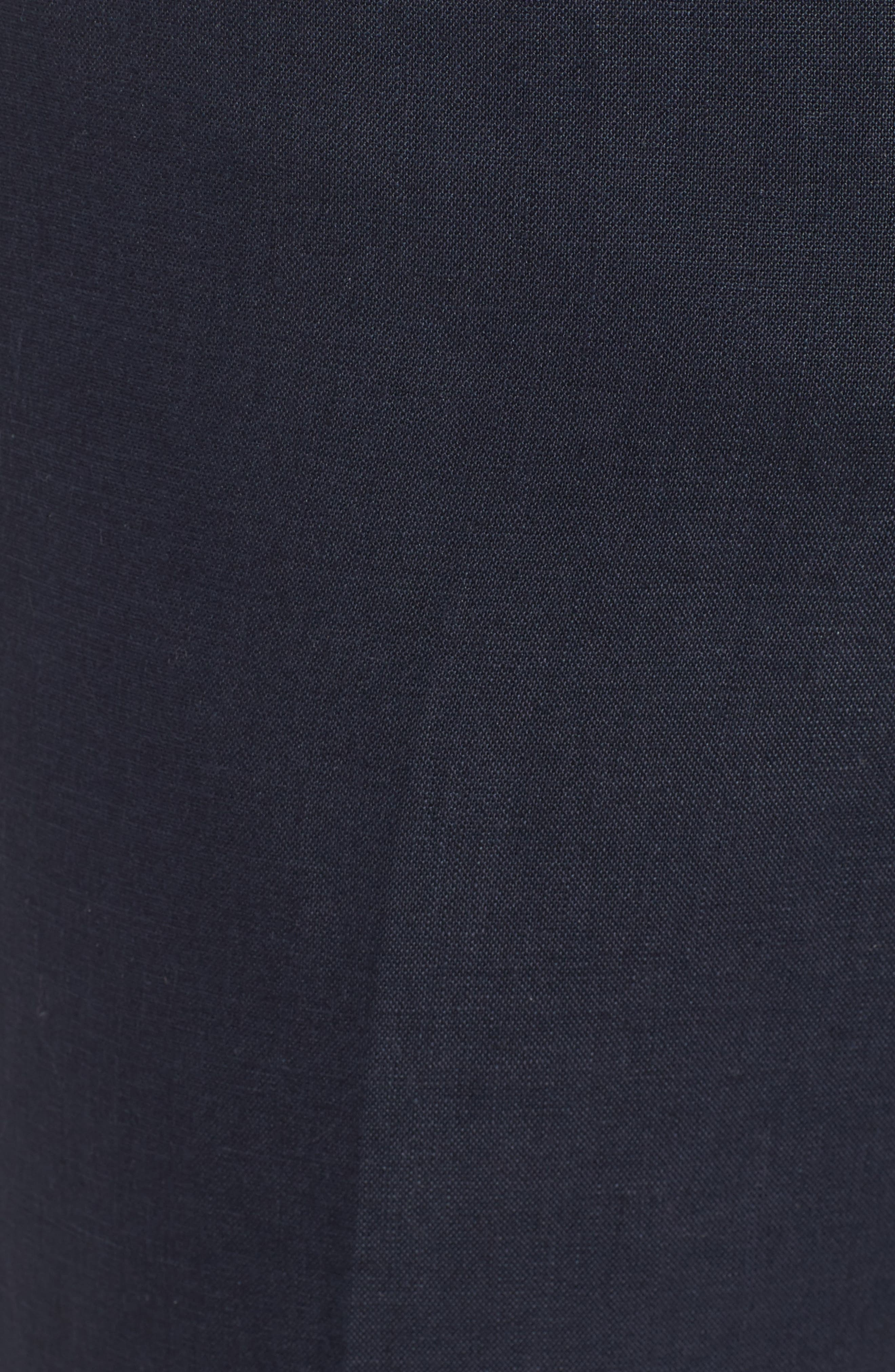 Flat Front Solid Linen Trousers,                             Alternate thumbnail 7, color,                             Navy