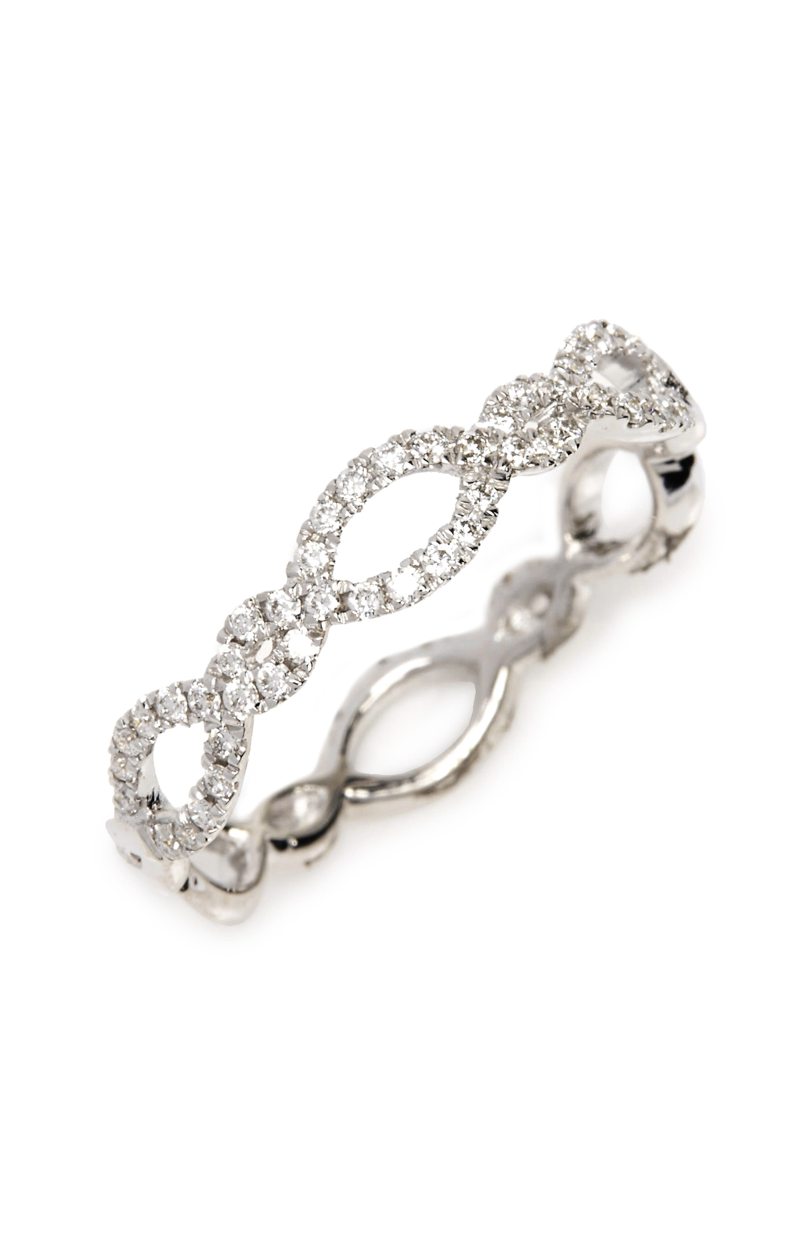 Stackable Weave Diamond Ring,                         Main,                         color, White Gold