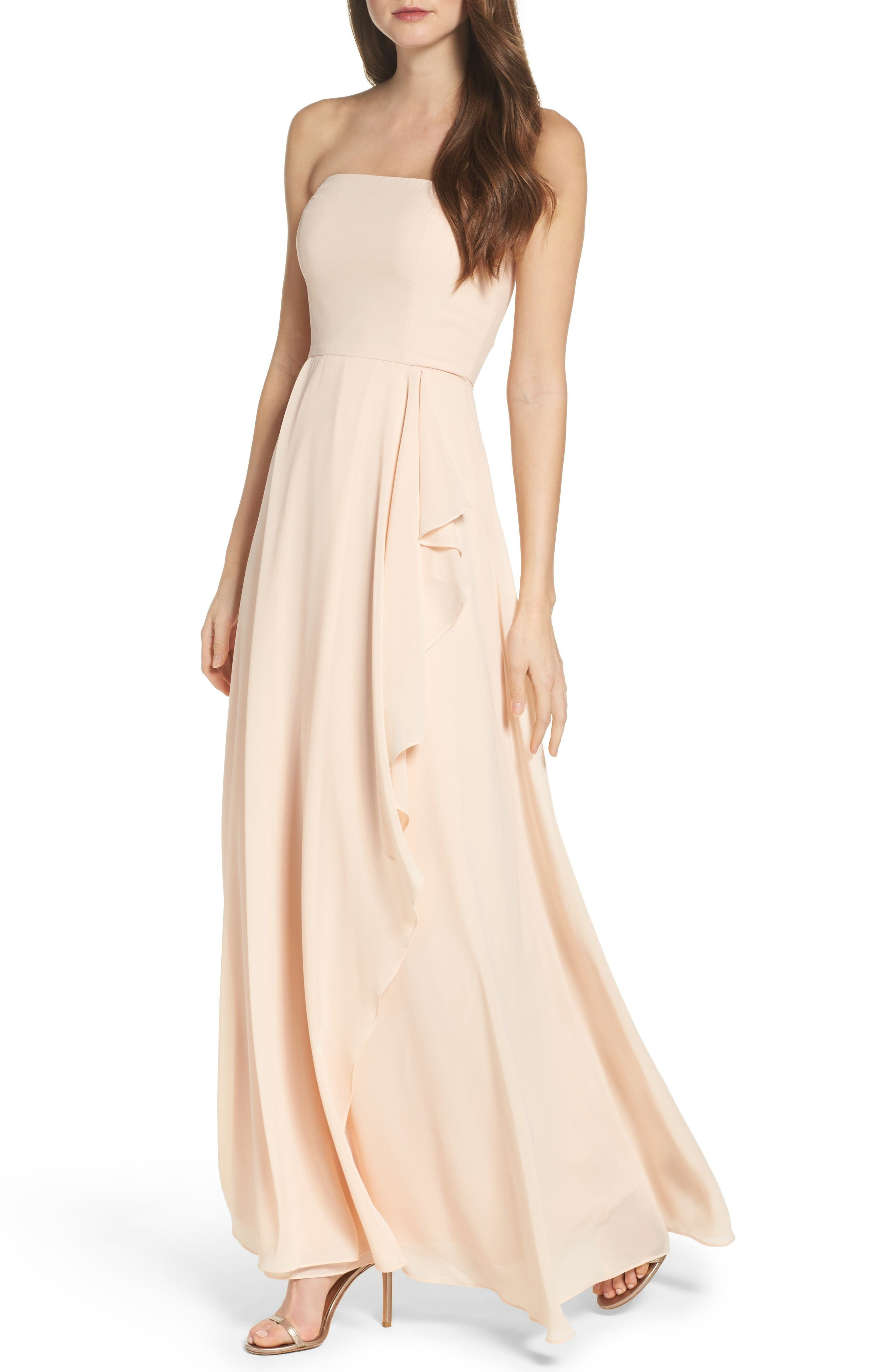 Chiffon Strapless Maxi Dress,                             Alternate thumbnail 4, color,                             Blush