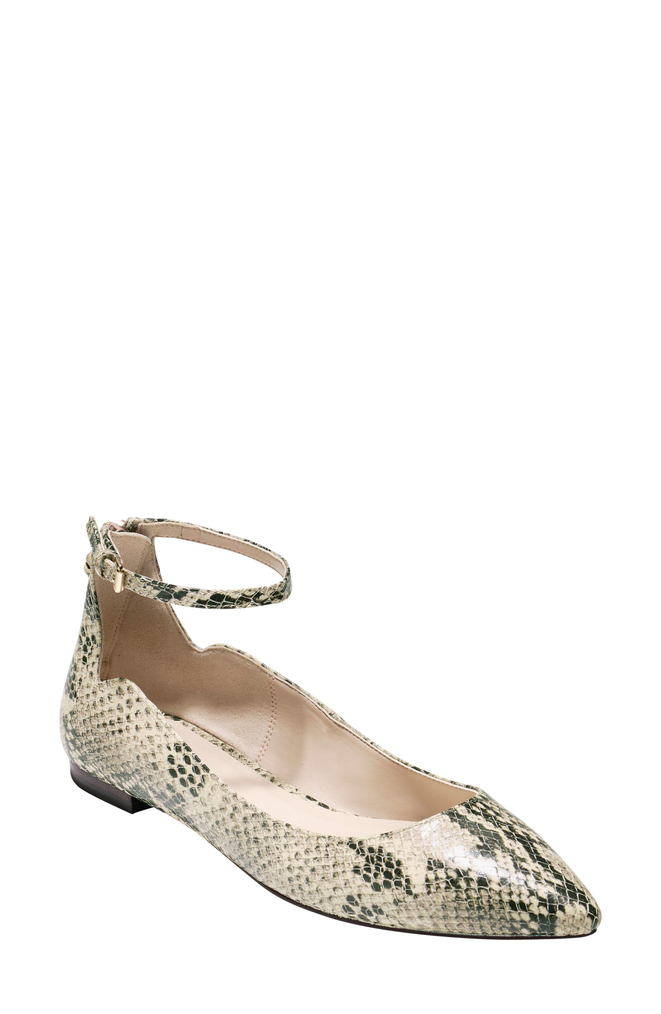 Millicent Ankle Strap Skimmer Flat,                         Main,                         color, Roccia Snake Print Leather