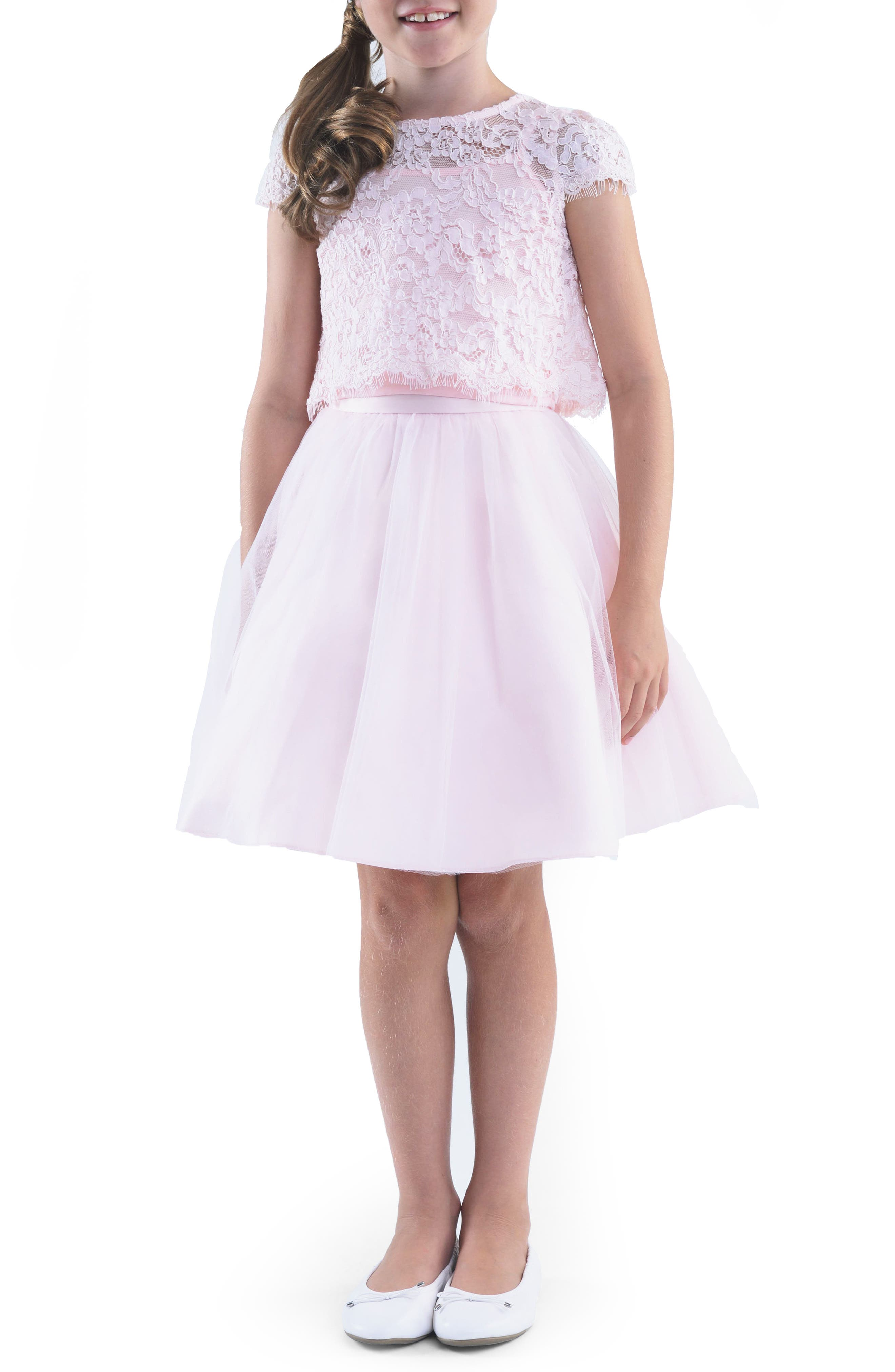 Lace Top & Mesh Skirt Set,                         Main,                         color, Blush Pink