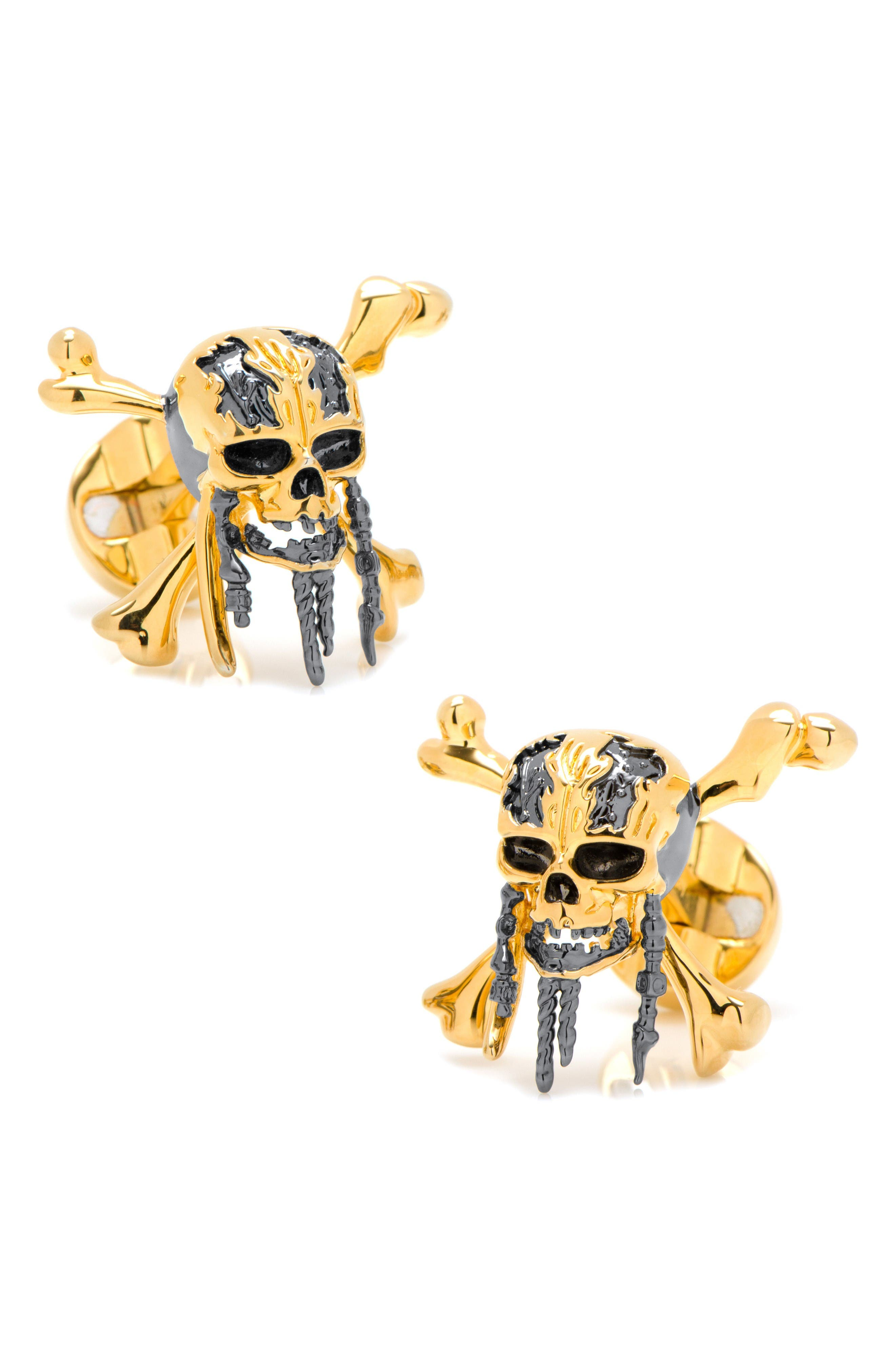 Pirates 3D Skull Cuff Links,                             Main thumbnail 1, color,                             Black