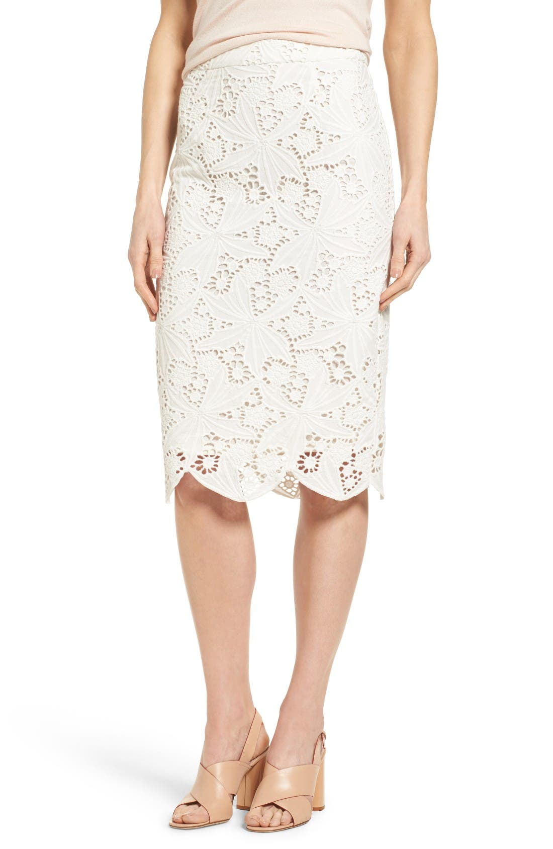 Alternate Image 1 Selected - Halogen® Scalloped Lace Pencil Skirt (Regular & Petite)
