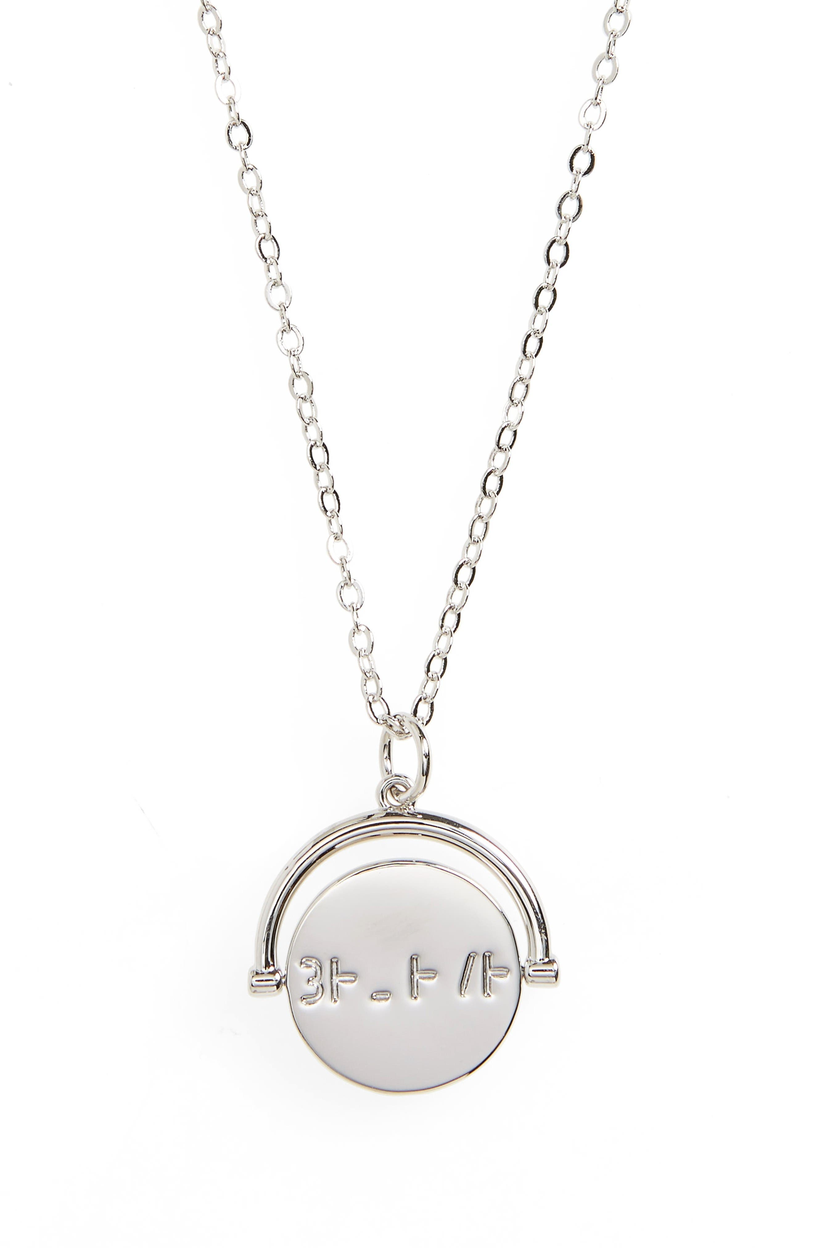 Believe Love Code Charm Necklace,                         Main,                         color, Believe/ Silver
