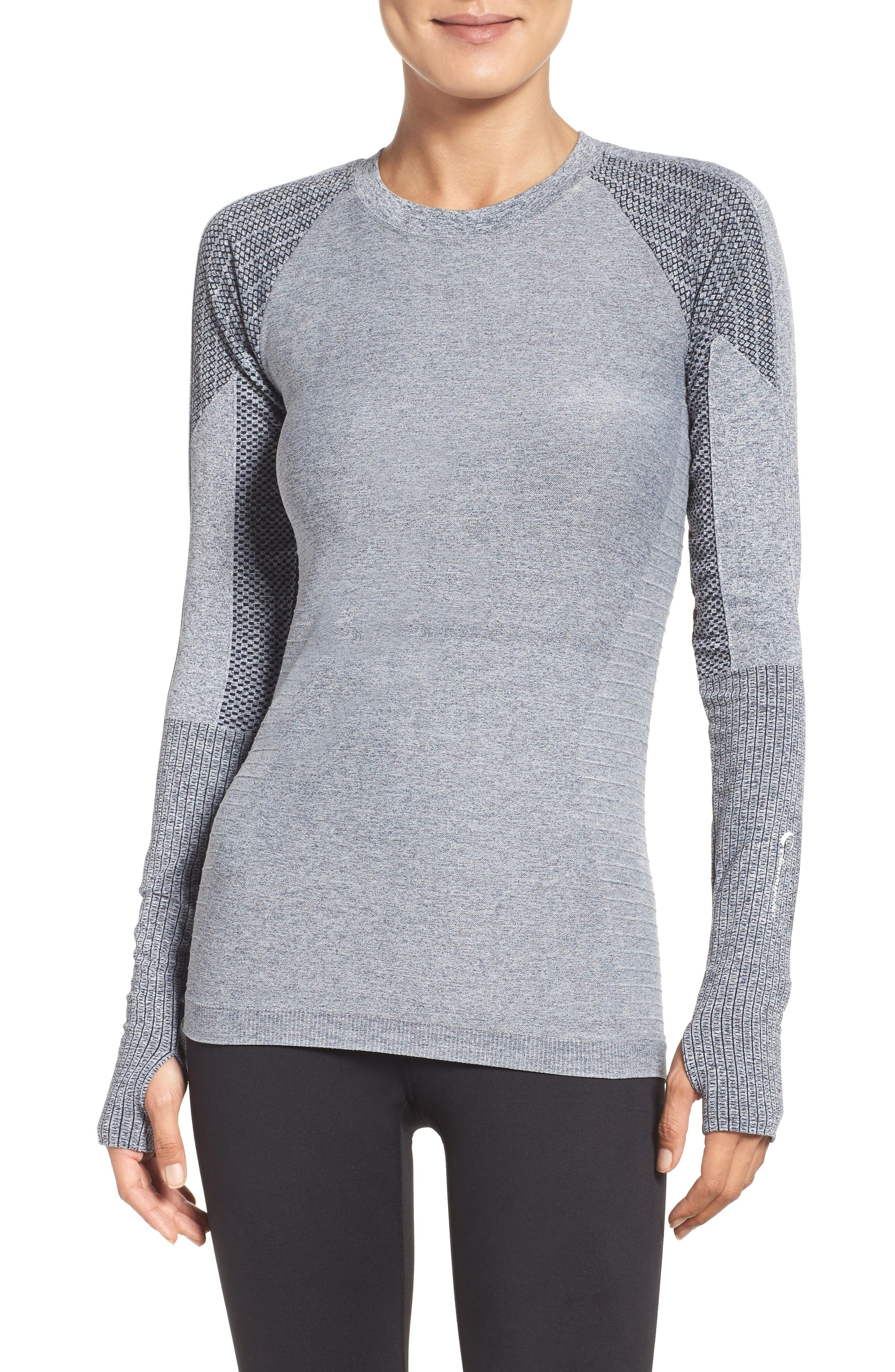 Dynamic Running Top,                             Main thumbnail 1, color,                             Grey/ White Melange