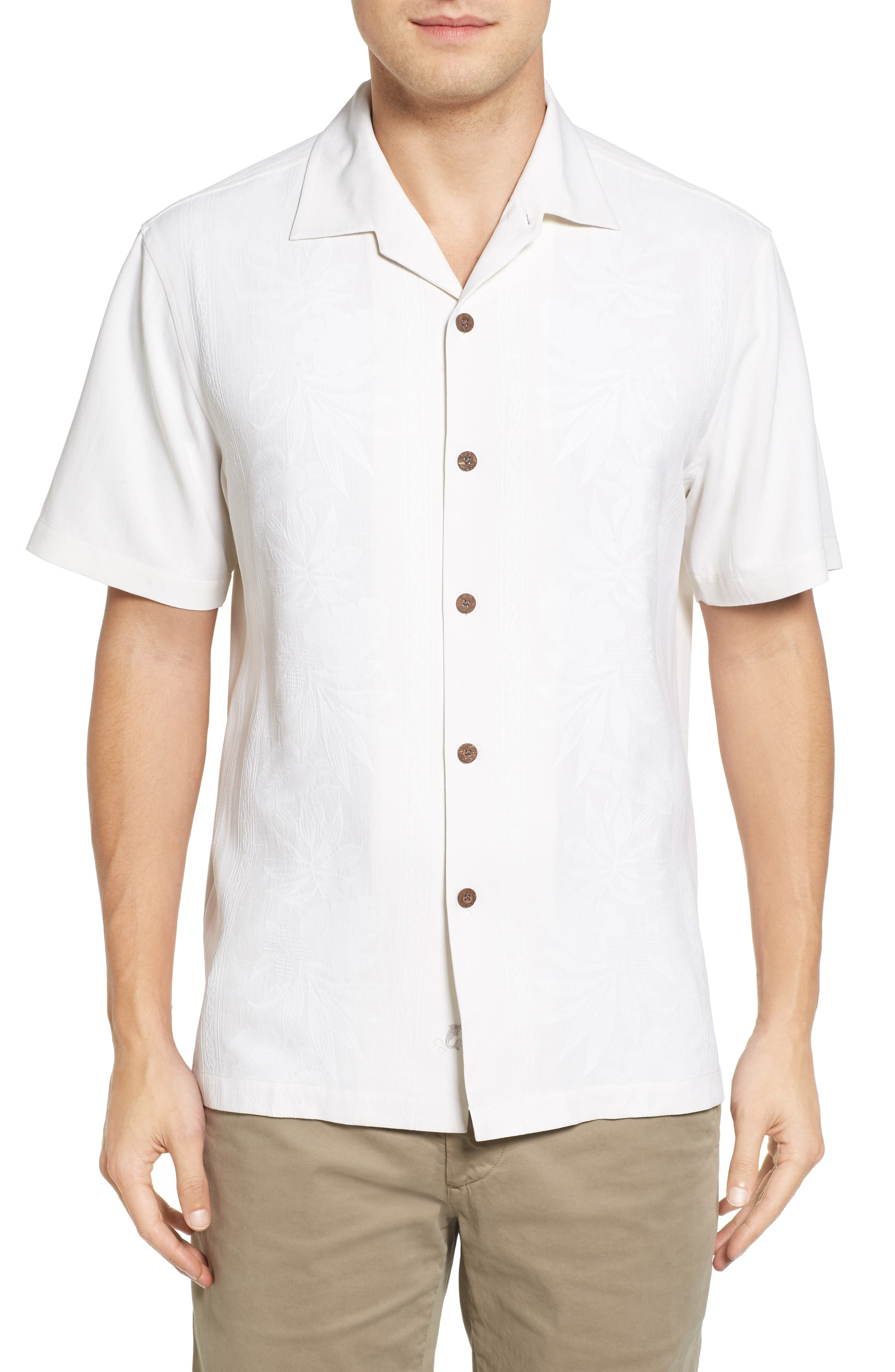 Main Image - Tommy Bahama Pacific Standard Fit Floral Silk Camp Shirt