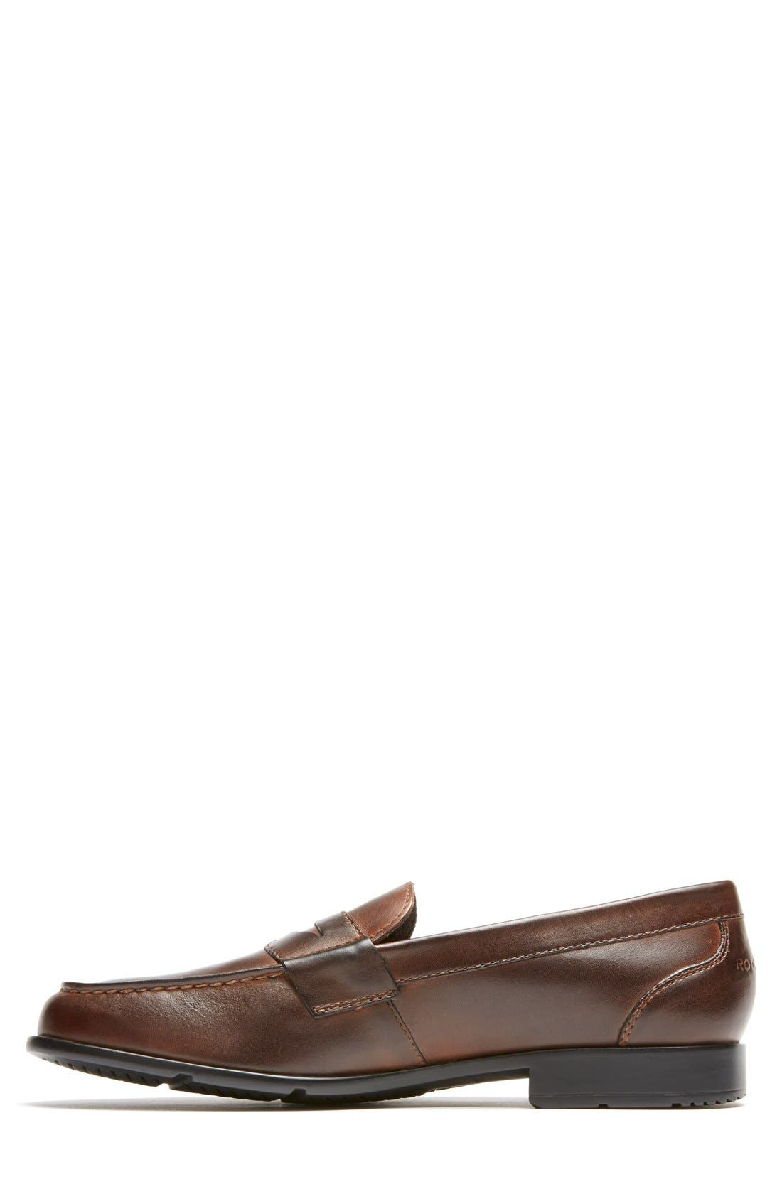 Leather Penny Loafer,                             Alternate thumbnail 2, color,                             Brown