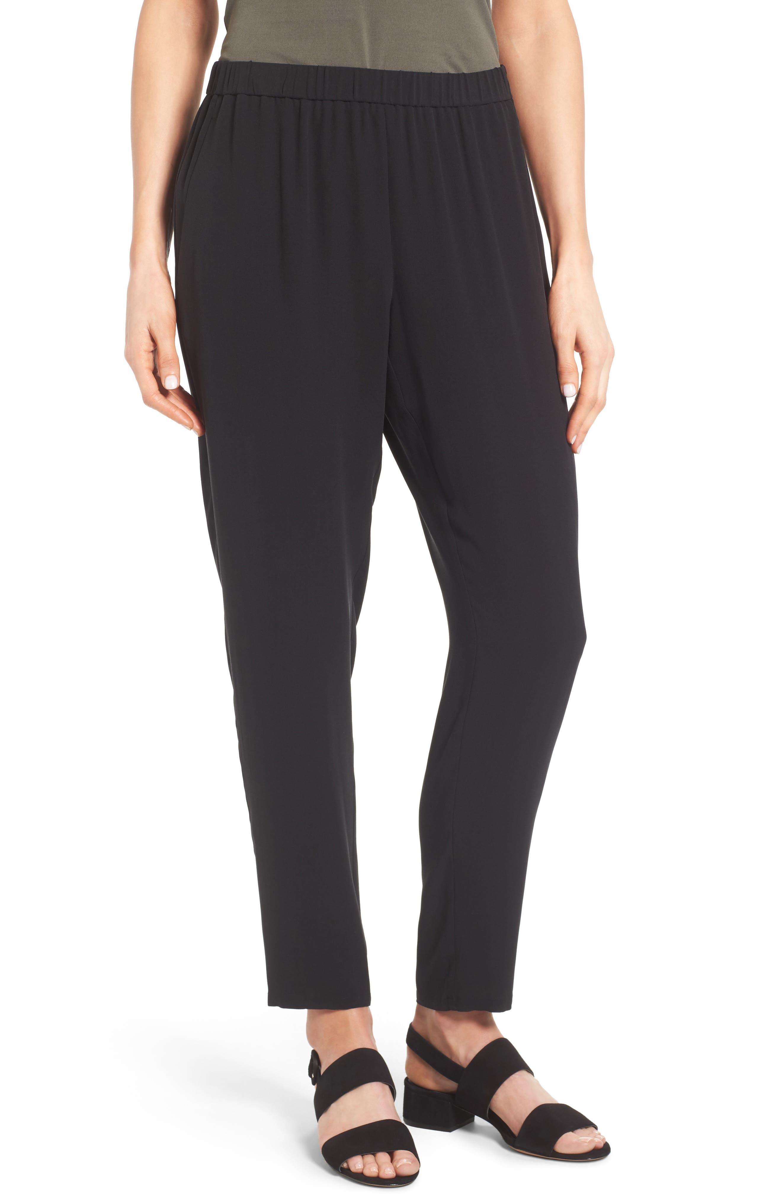 Slouchy Silk Crepe Ankle Pants,                             Main thumbnail 1, color,                             Black