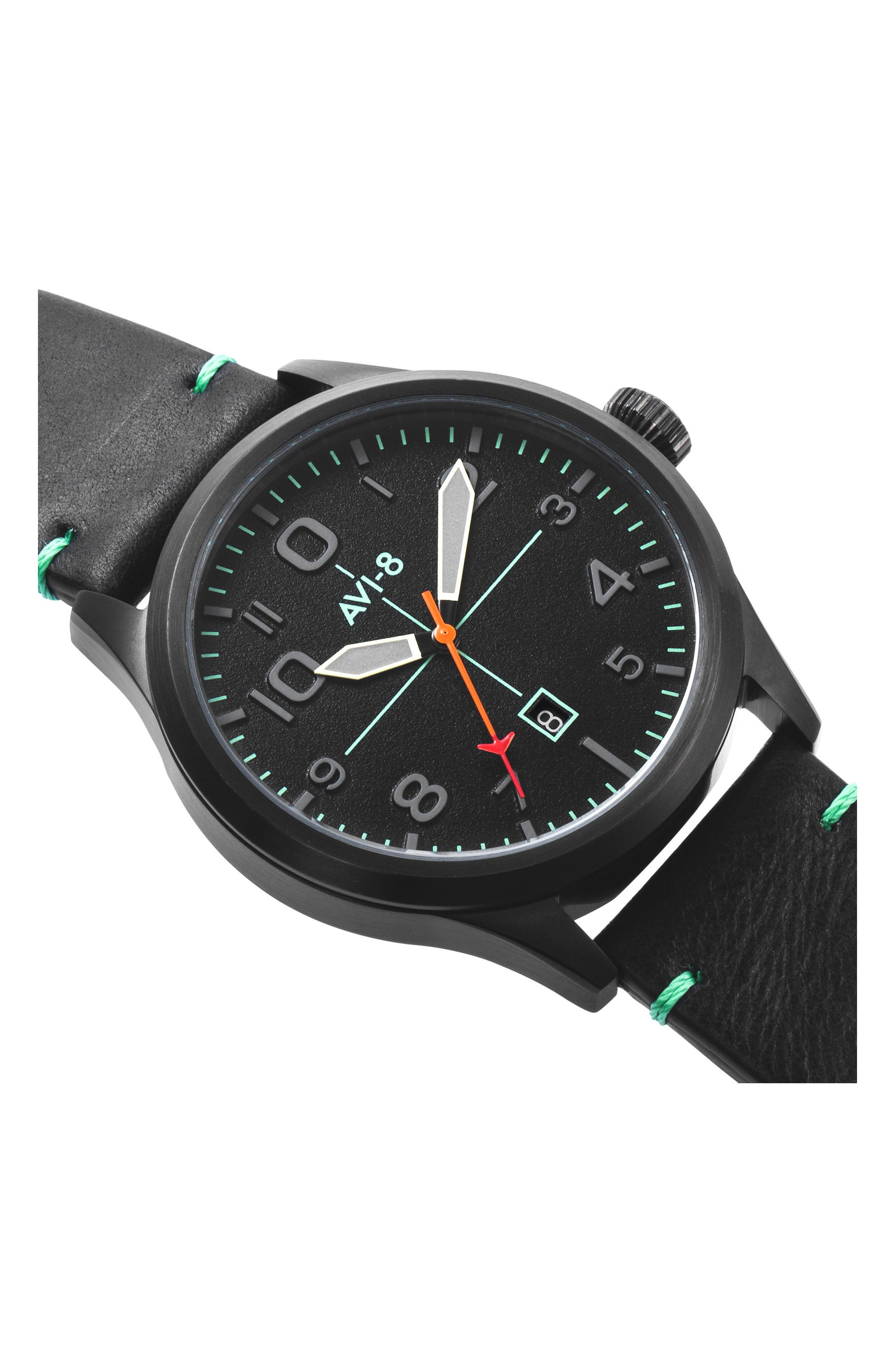 Flyboy Leather Strap Watch, 43mm,                             Alternate thumbnail 4, color,                             Black/ Black