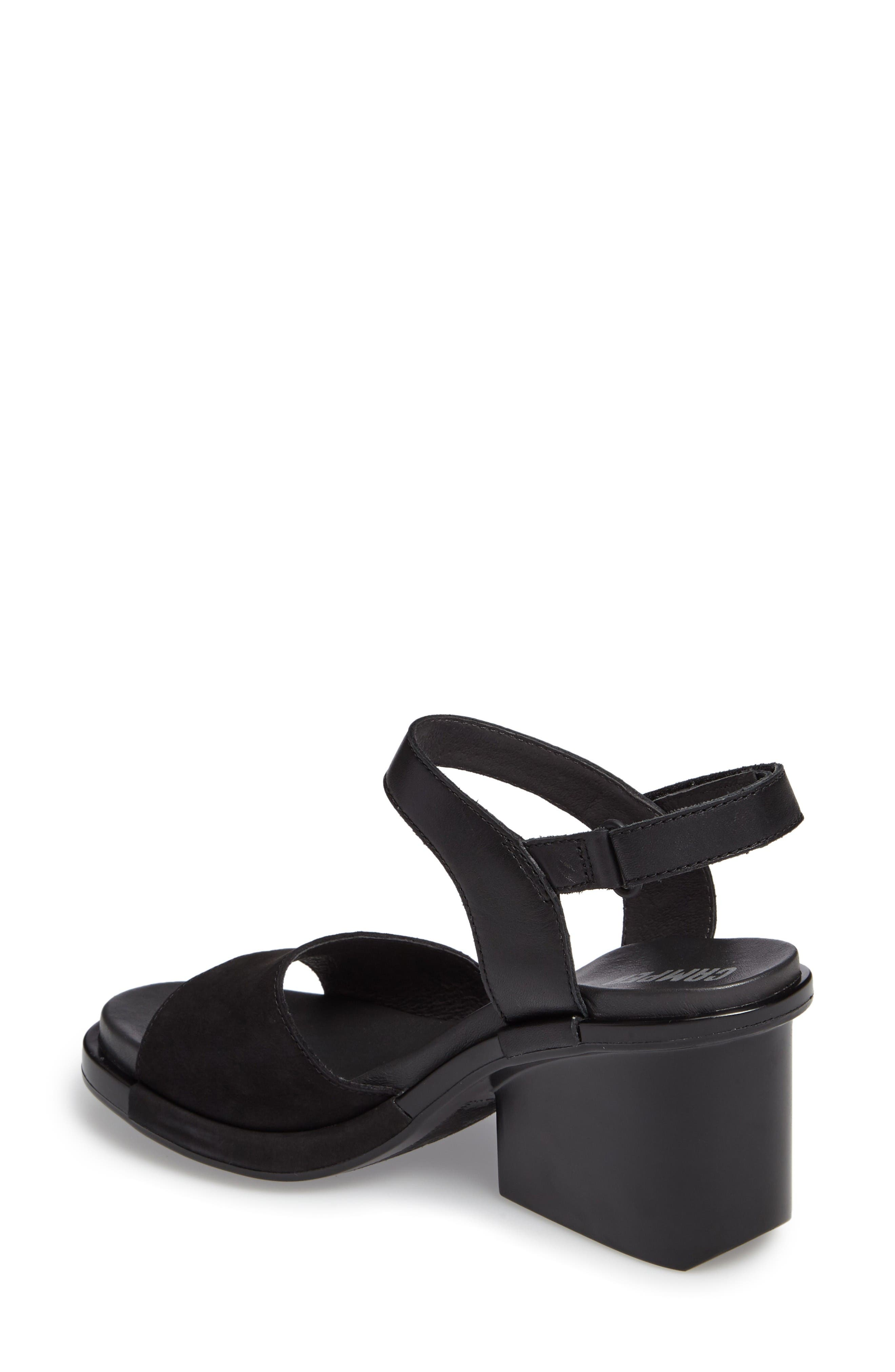 Ivy Ankle Strap Sandal,                             Alternate thumbnail 2, color,                             Black Leather