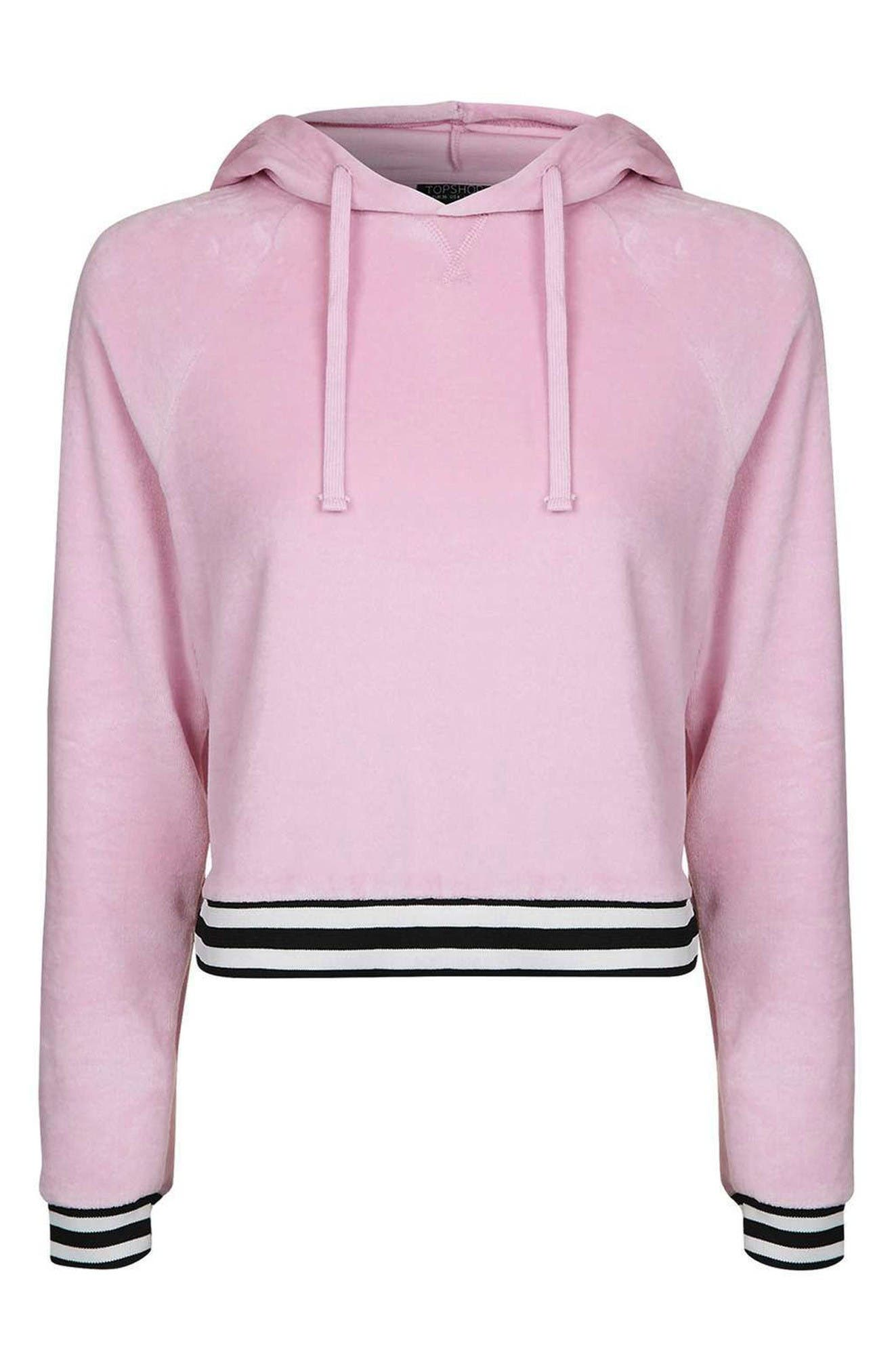 Alternate Image 1 Selected - Topshop Stripe Edge Velour Hoodie