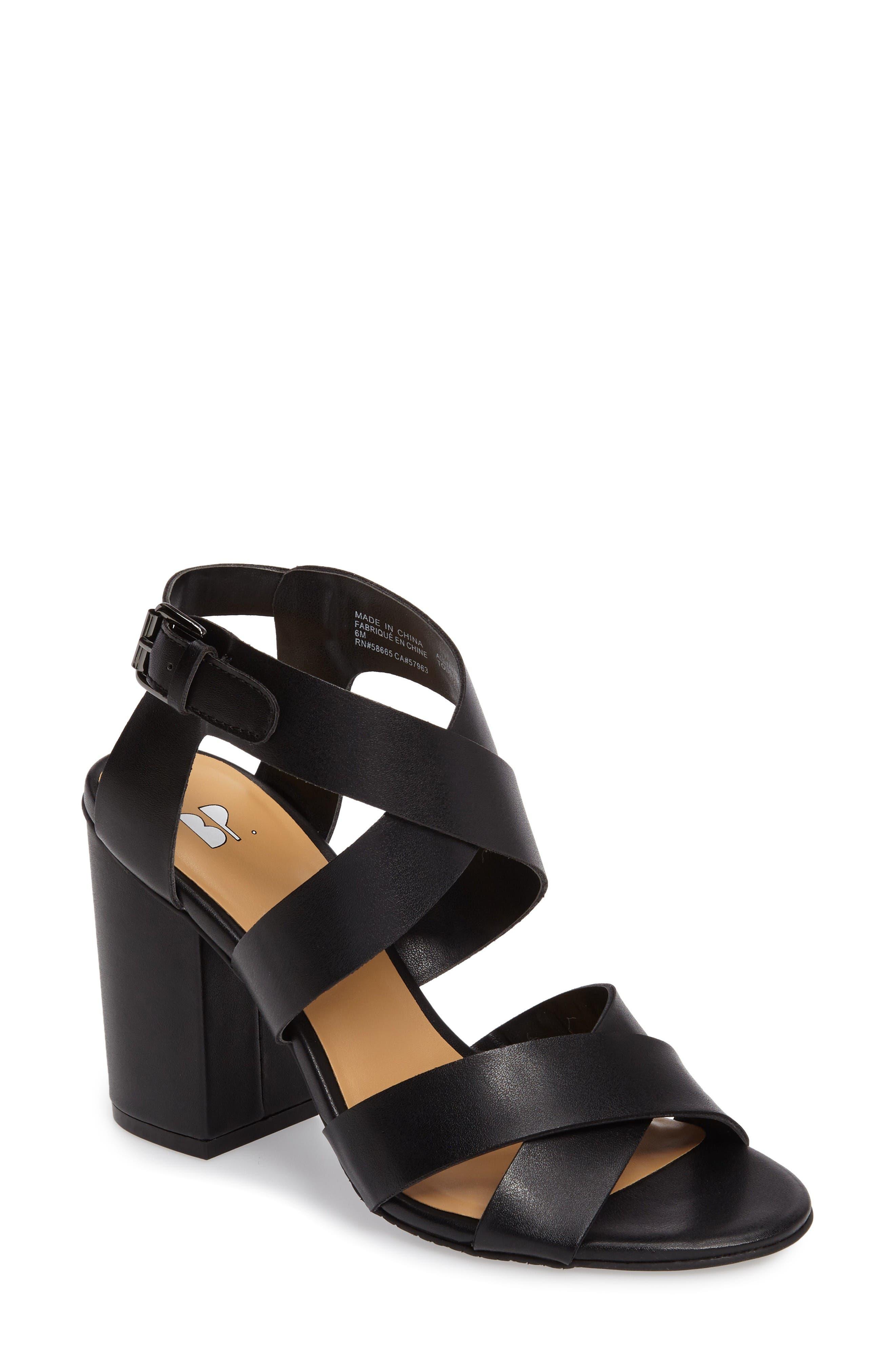 Terry Block Heel Sandal,                             Main thumbnail 1, color,                             Black Faux Leather