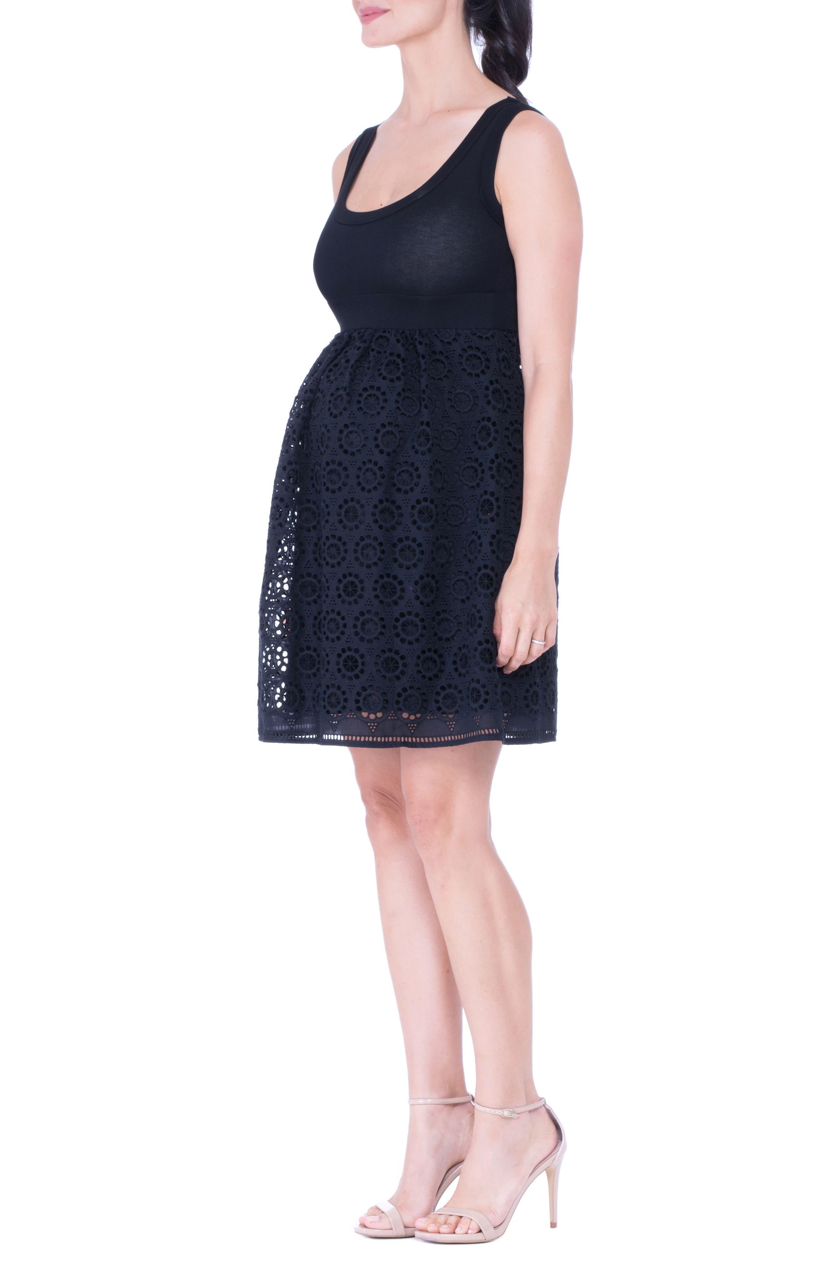 Crochet Maternity Dress,                             Alternate thumbnail 3, color,                             Black