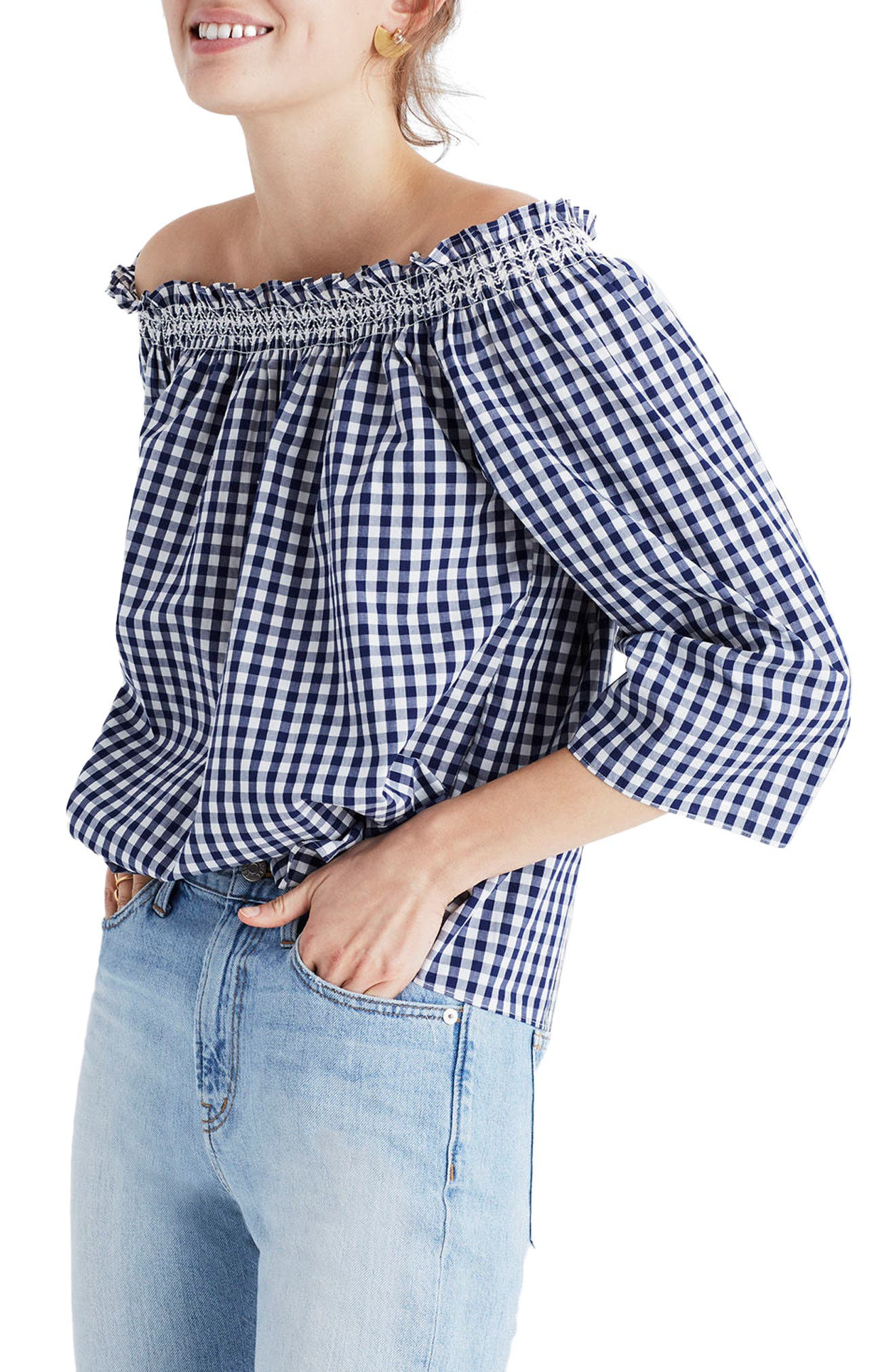 Smocked Gingham Off the Shoulder Top,                             Main thumbnail 1, color,                             Moonless Night
