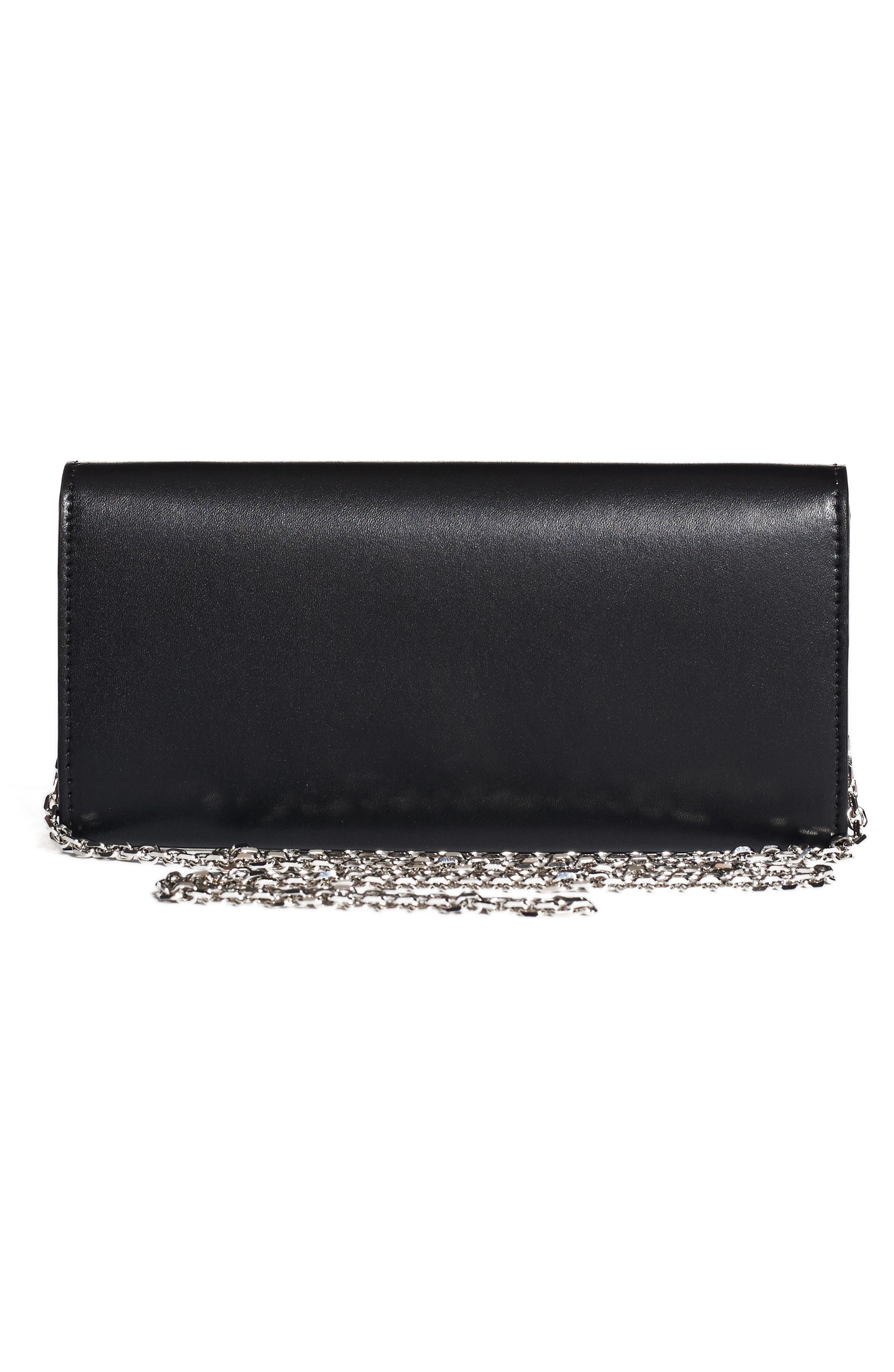 Studded Heart Calfskin Wallet on a Chain,                             Alternate thumbnail 3, color,                             Black Multi