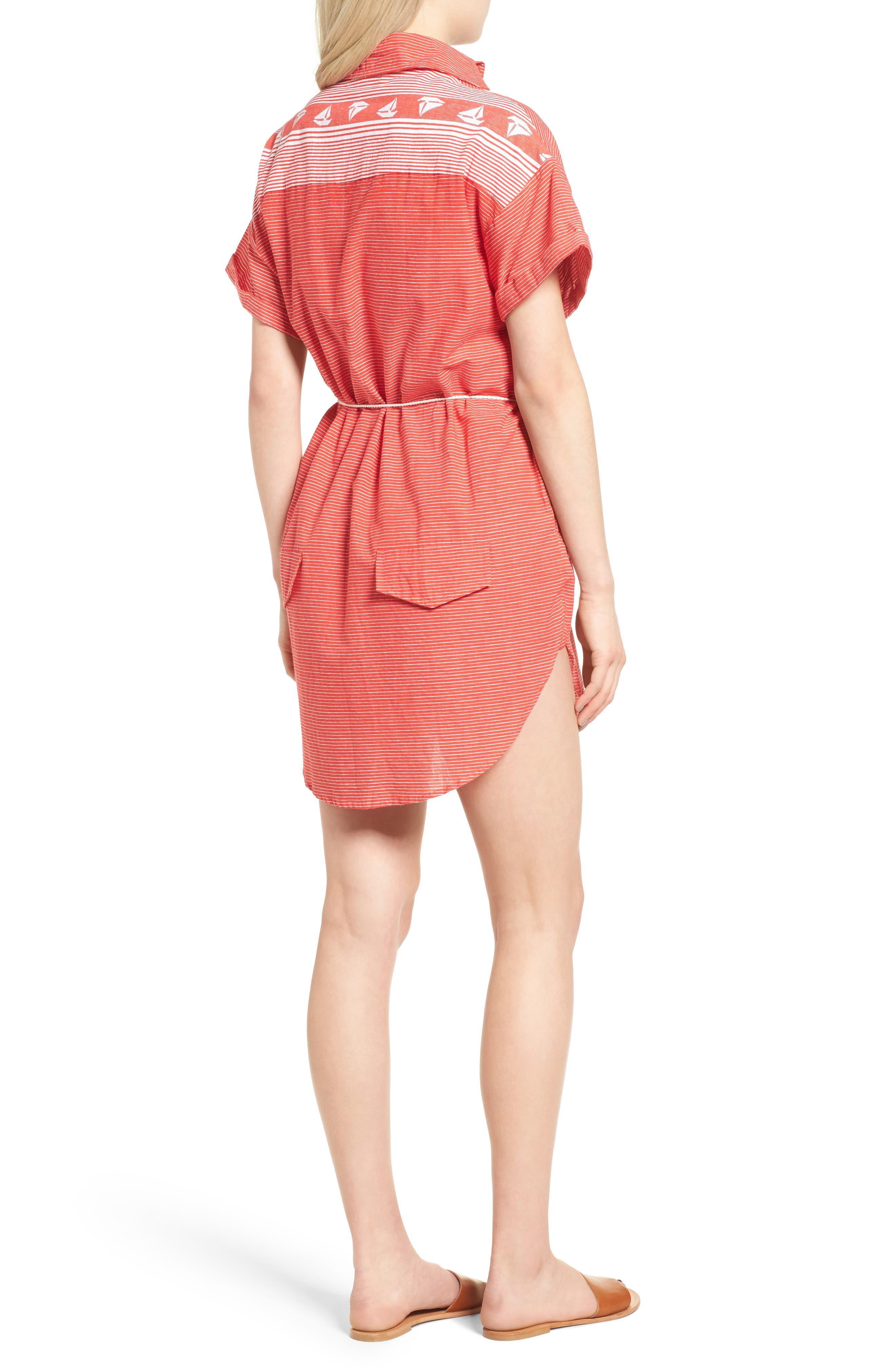 Avalon Cotton Shirtdress,                             Alternate thumbnail 3, color,                             Deep Sea Print Red