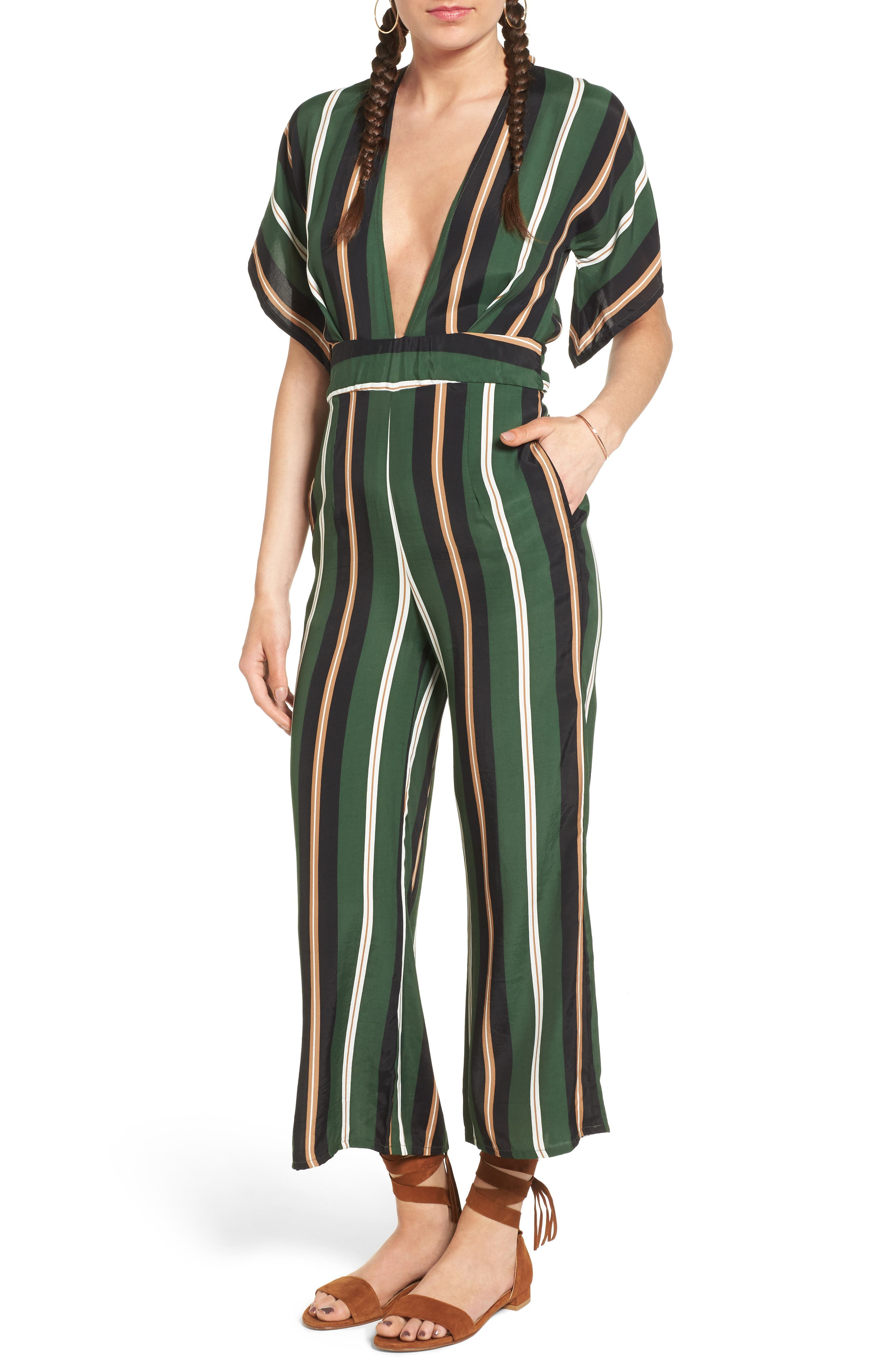 Cedric Jumpsuit,                         Main,                         color, Firenze Stripes Green/Blk