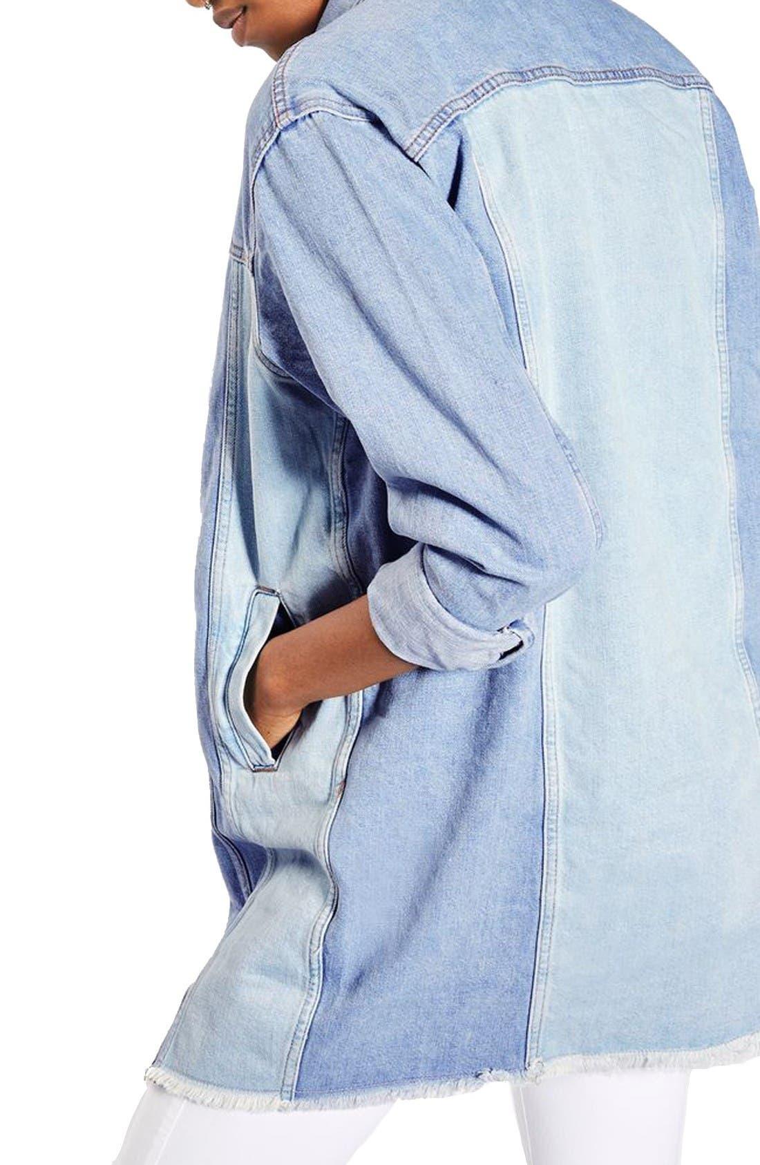 Alternate Image 3  - Topshop Colorblock Denim Jacket