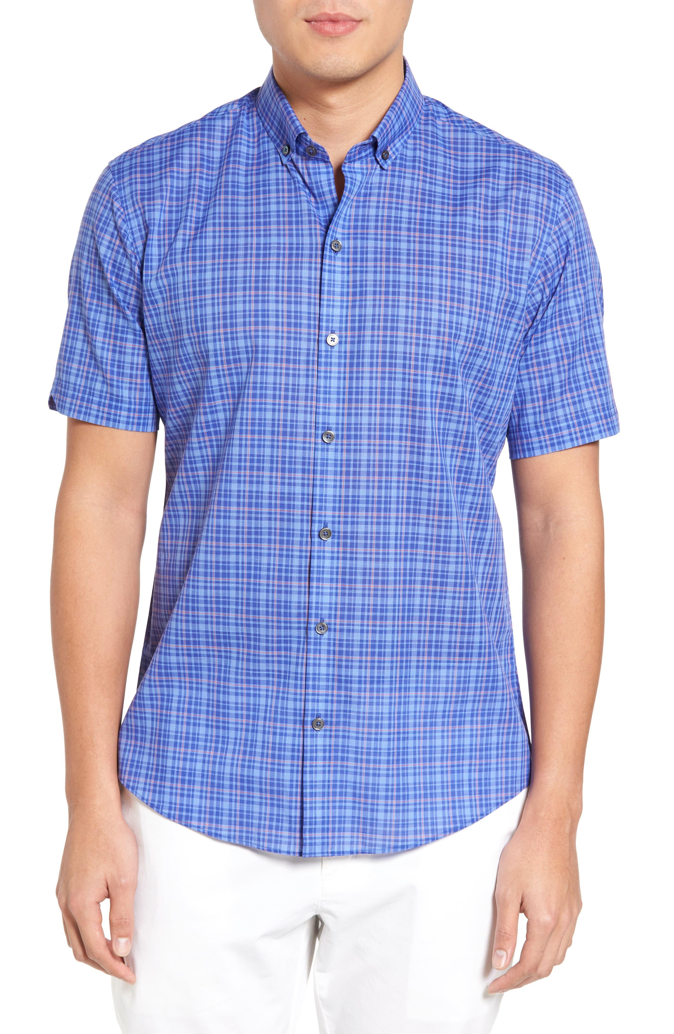 Shammas Plaid Sport Shirt,                         Main,                         color, Royal